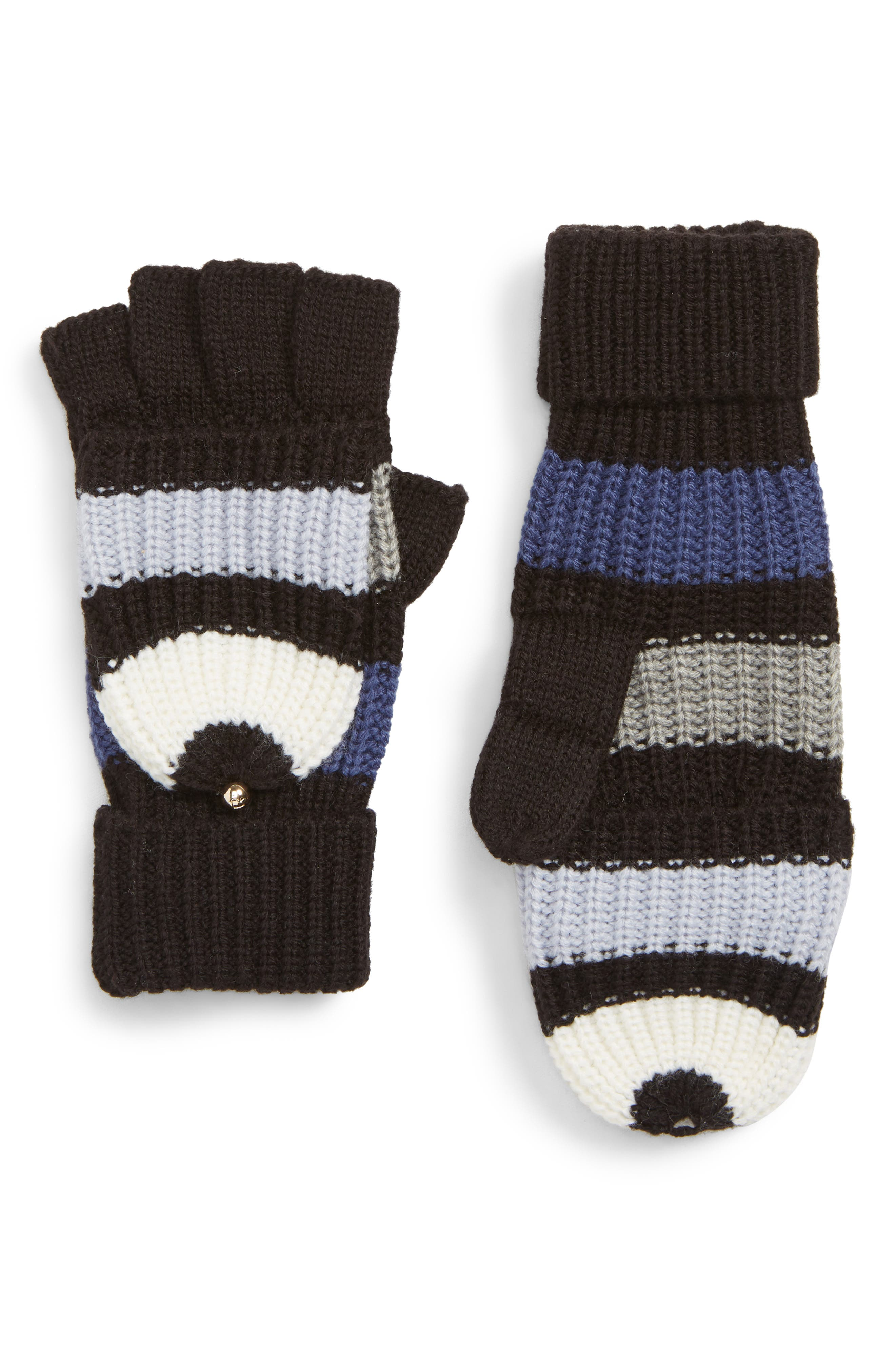 stripe convertible knit mittens,                         Main,                         color, RICH INK
