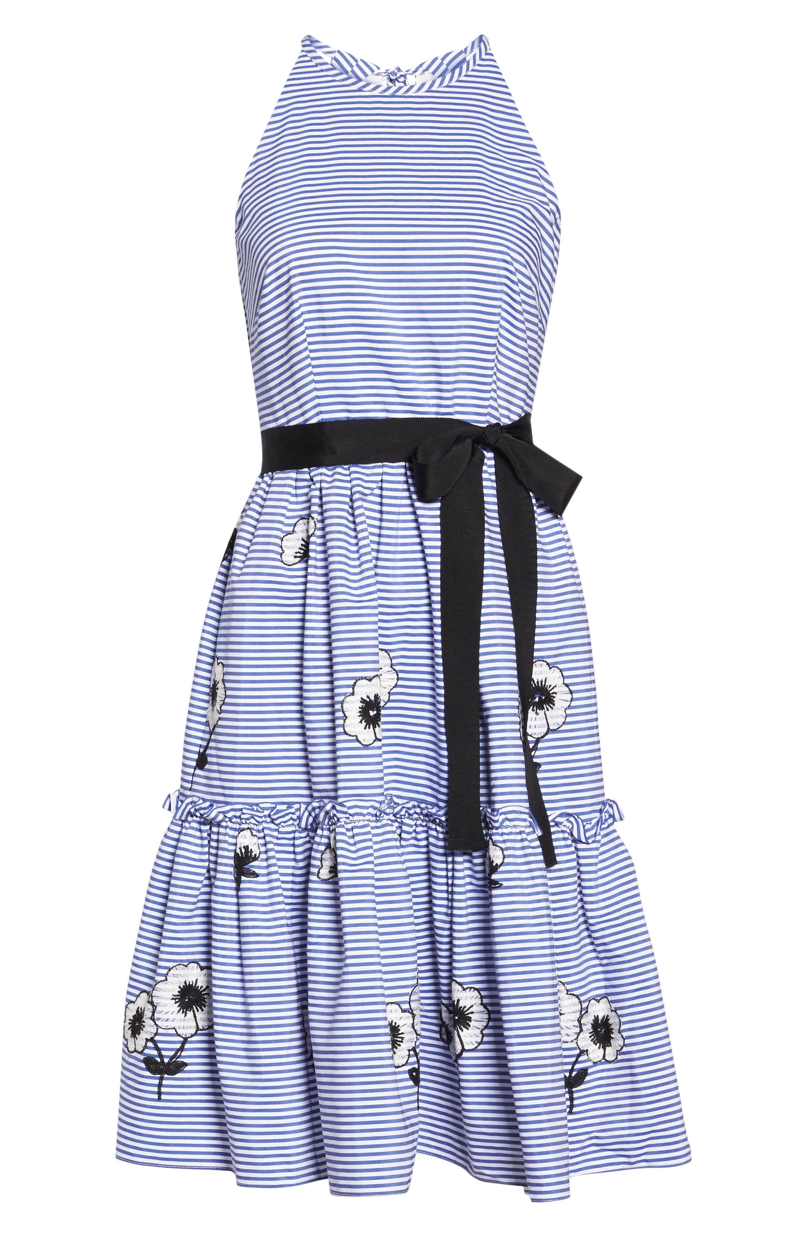 Embroidered Stripe Fit & Flare Dress,                             Alternate thumbnail 6, color,                             421