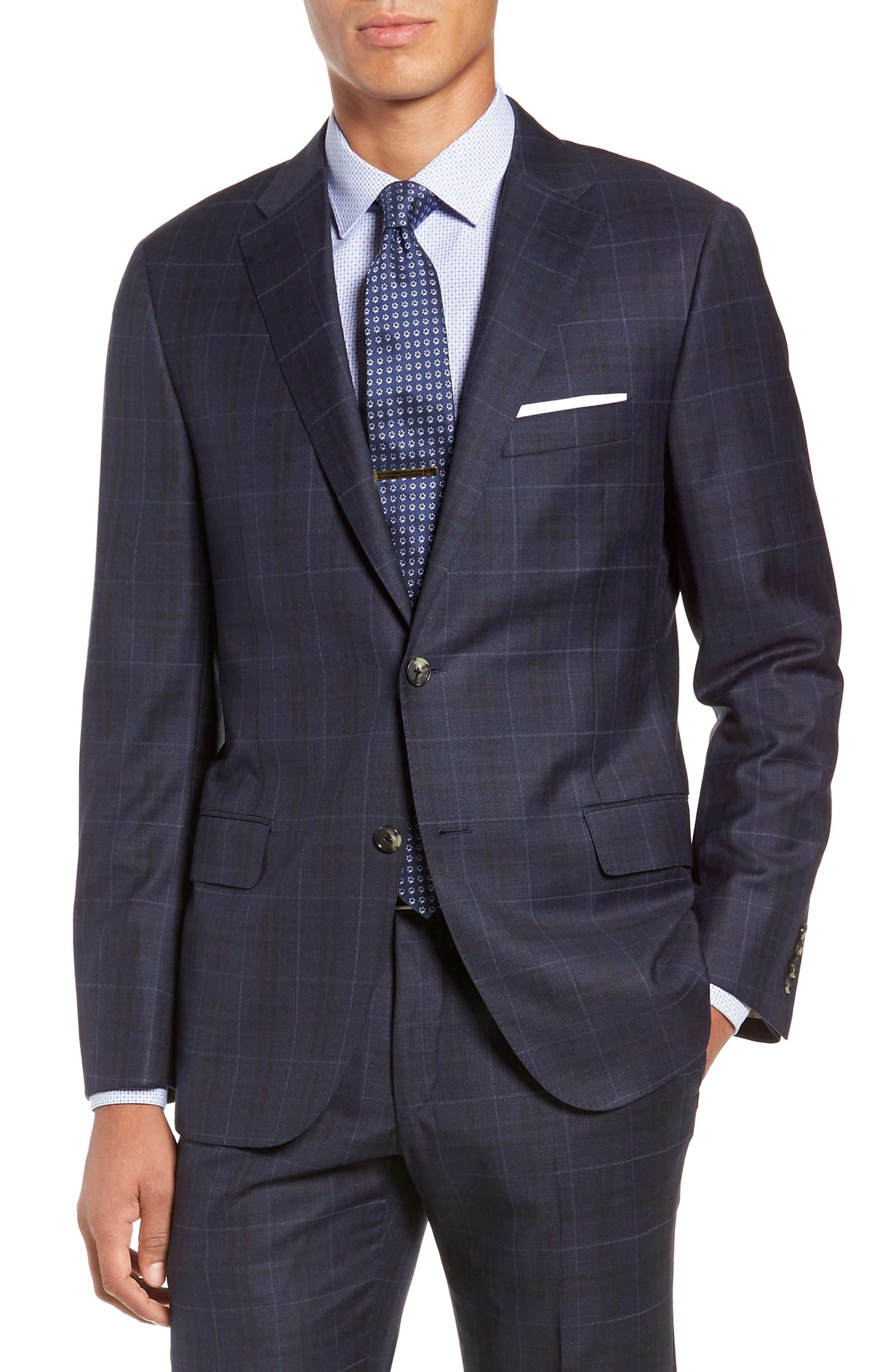Classic Fit Plaid Wool Suit,                             Alternate thumbnail 5, color,                             DARK BLUE