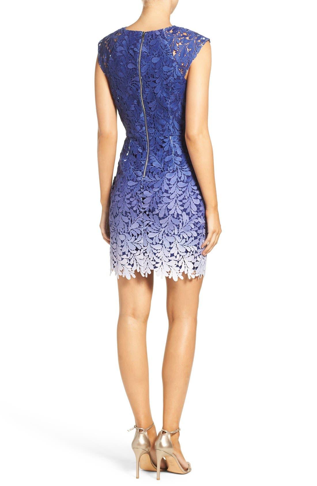 Ombré Lace Sheath Dress,                             Alternate thumbnail 4, color,                             400