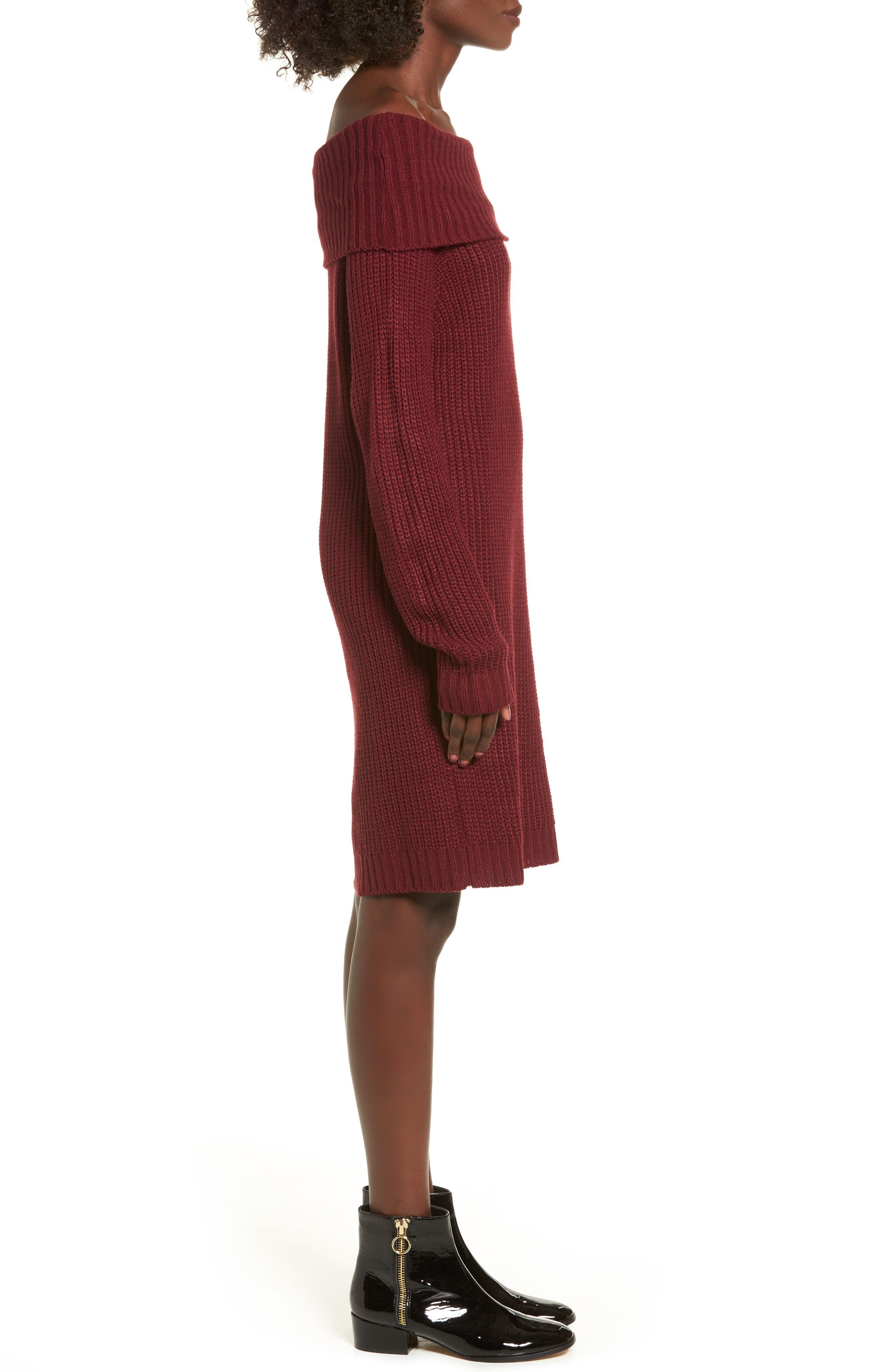 Foldover Off the Shoulder Sweater Dress,                             Alternate thumbnail 12, color,
