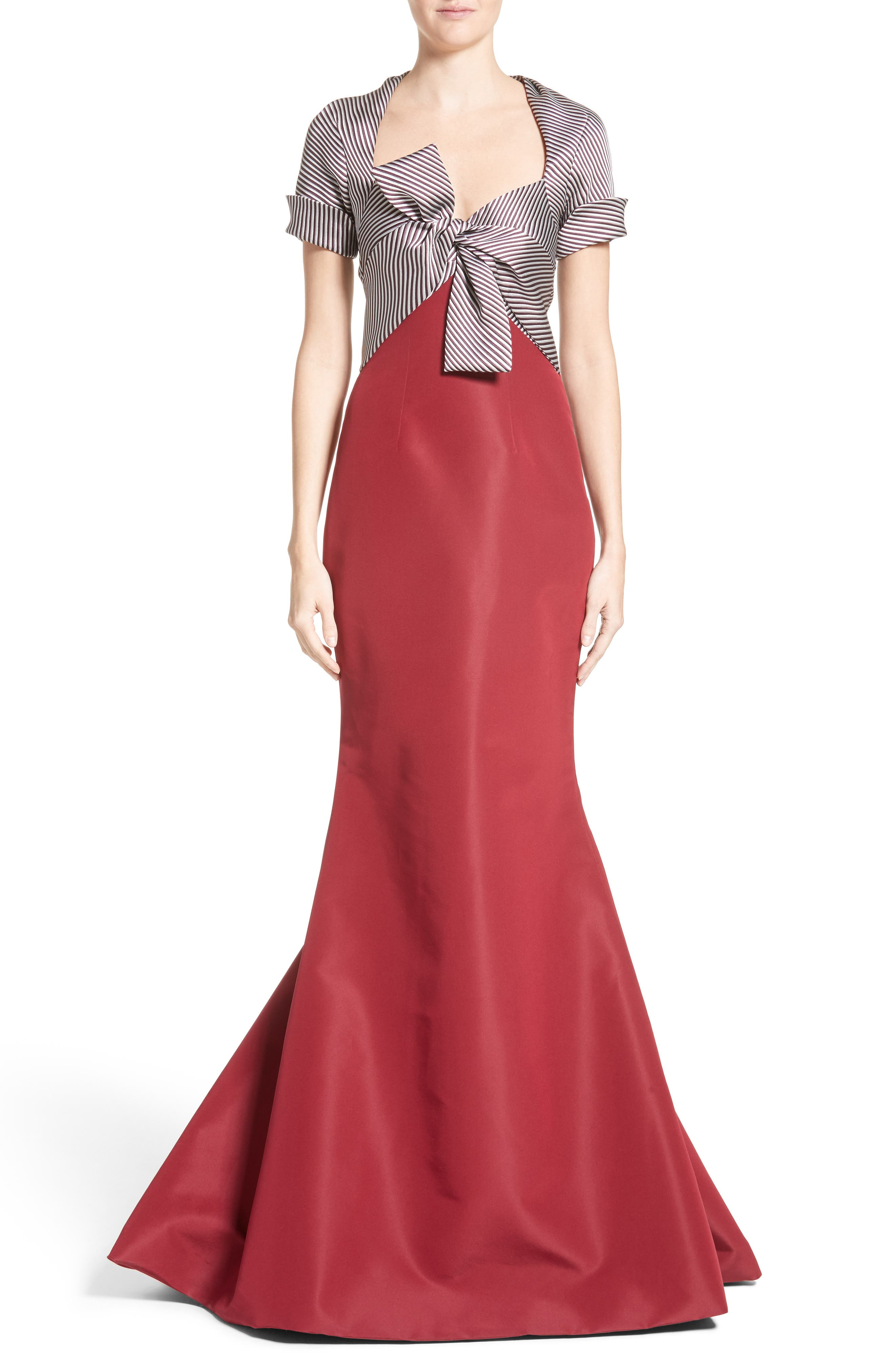 Bow Front Colorblock Gown,                             Main thumbnail 1, color,                             600