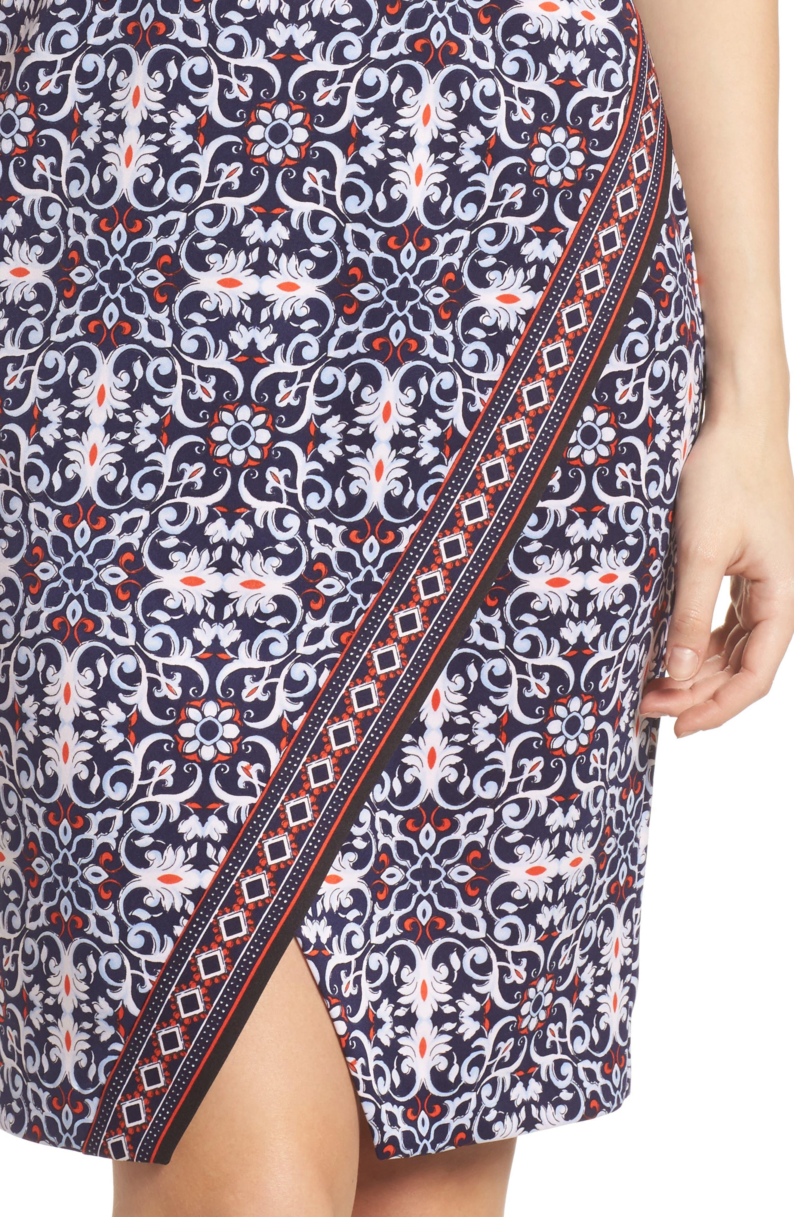 Printed Scissor Front Sleeveless Dress,                             Alternate thumbnail 4, color,                             490