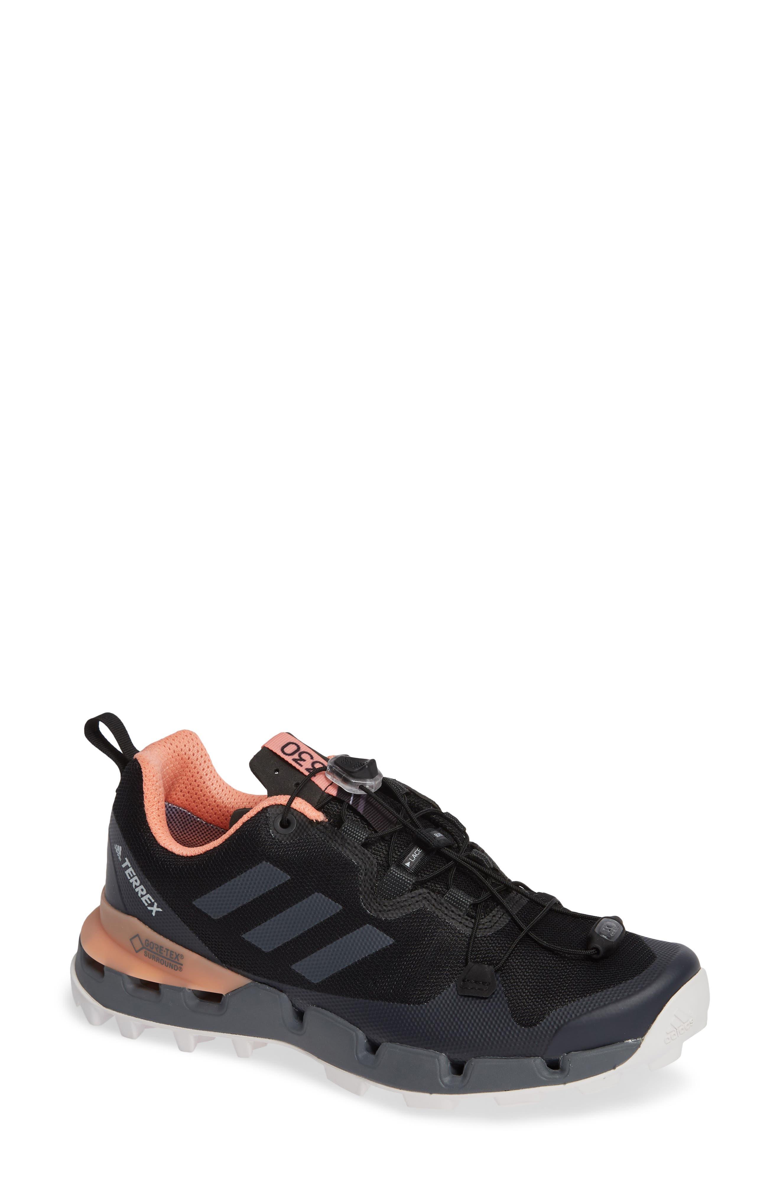 Terrex Fast GTX<sup>®</sup> Surround Hiking Shoe,                             Main thumbnail 1, color,                             BLACK/ GREY FIVE/ CHALK CORAL