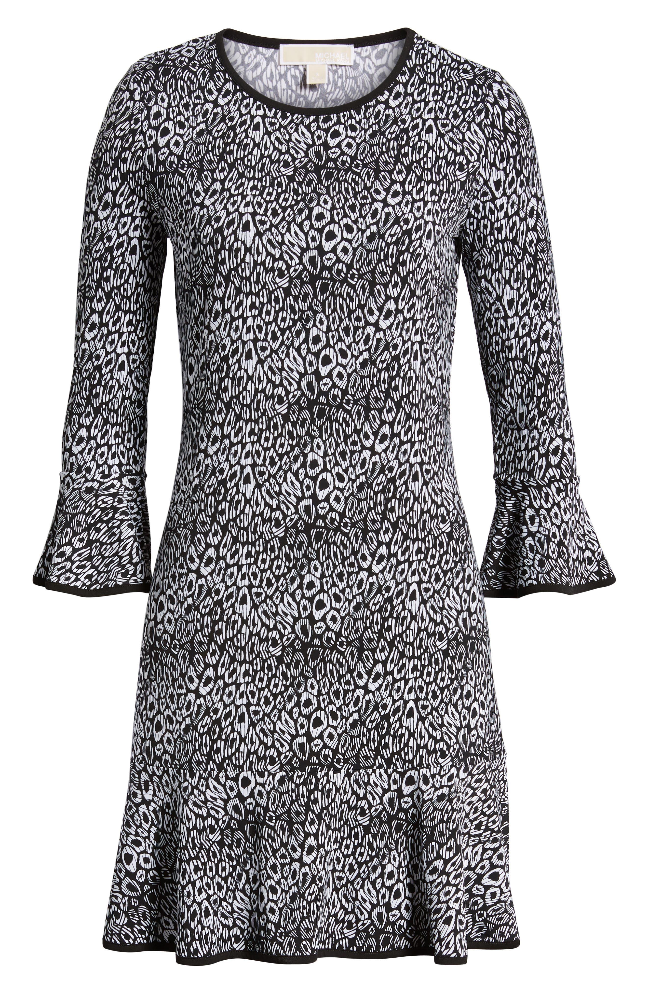 Wavy Leopard Flounce Dress,                             Alternate thumbnail 7, color,                             001