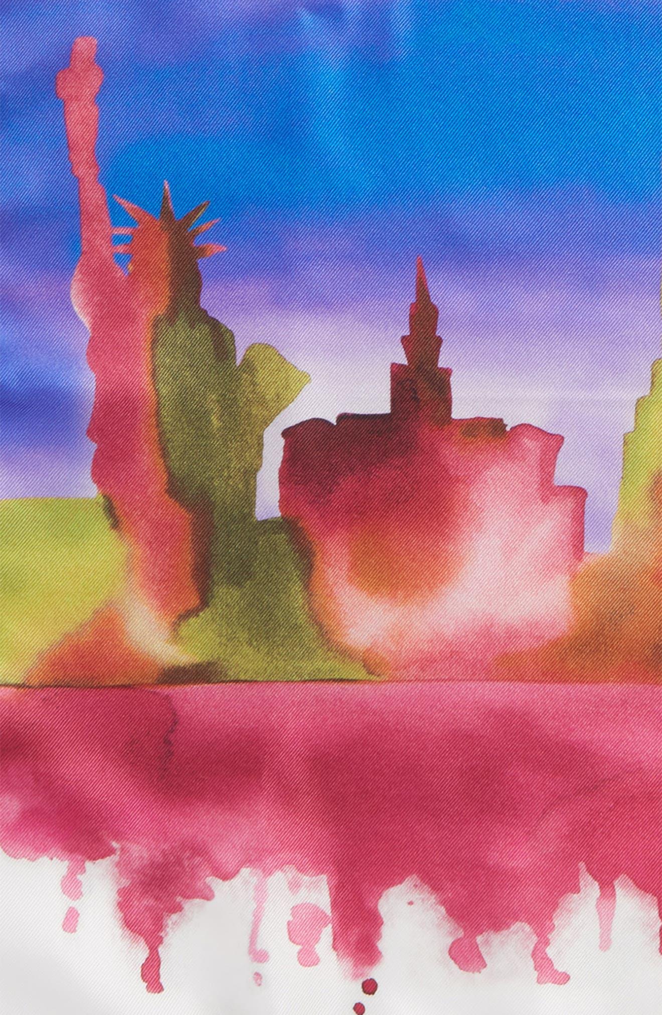 ETON,                             New York Skyline Silk Pocket Square,                             Alternate thumbnail 3, color,                             PURPLE
