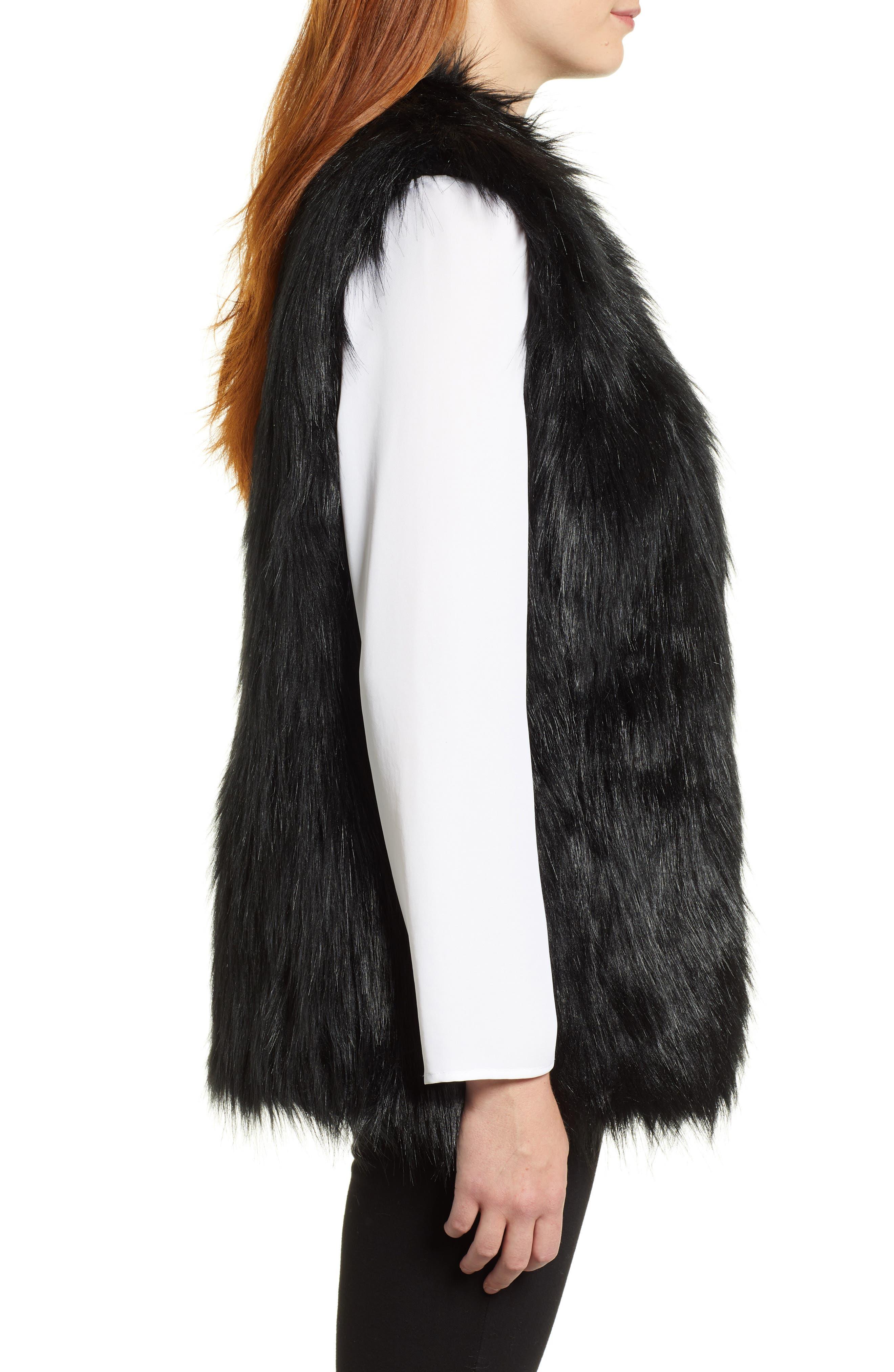 CHAUS,                             Faux Fur Vest,                             Alternate thumbnail 4, color,                             011