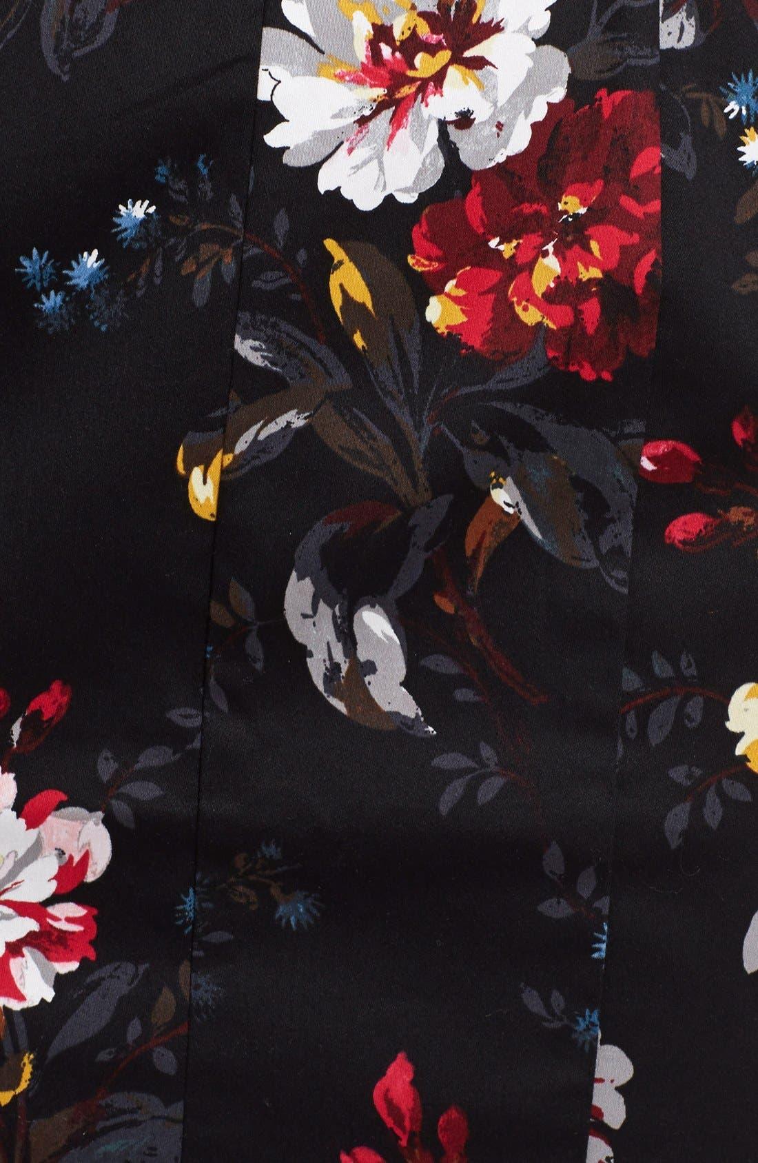 'Gardini' Floral Print Cotton Sheath Dress,                             Alternate thumbnail 3, color,                             006