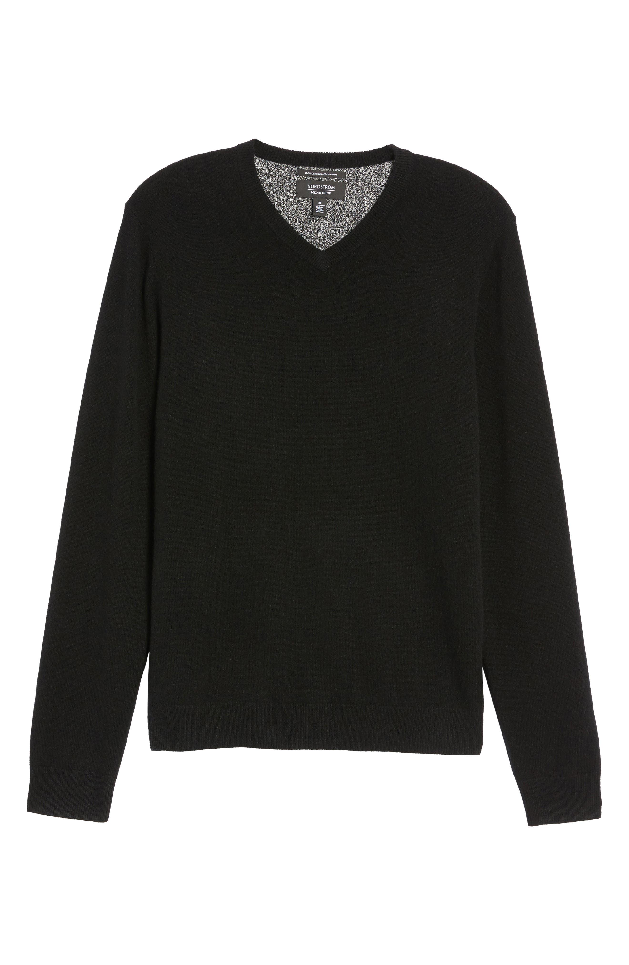 NORDSTROM MEN'S SHOP,                             Cashmere V-Neck Sweater,                             Alternate thumbnail 6, color,                             BLACK CAVIAR