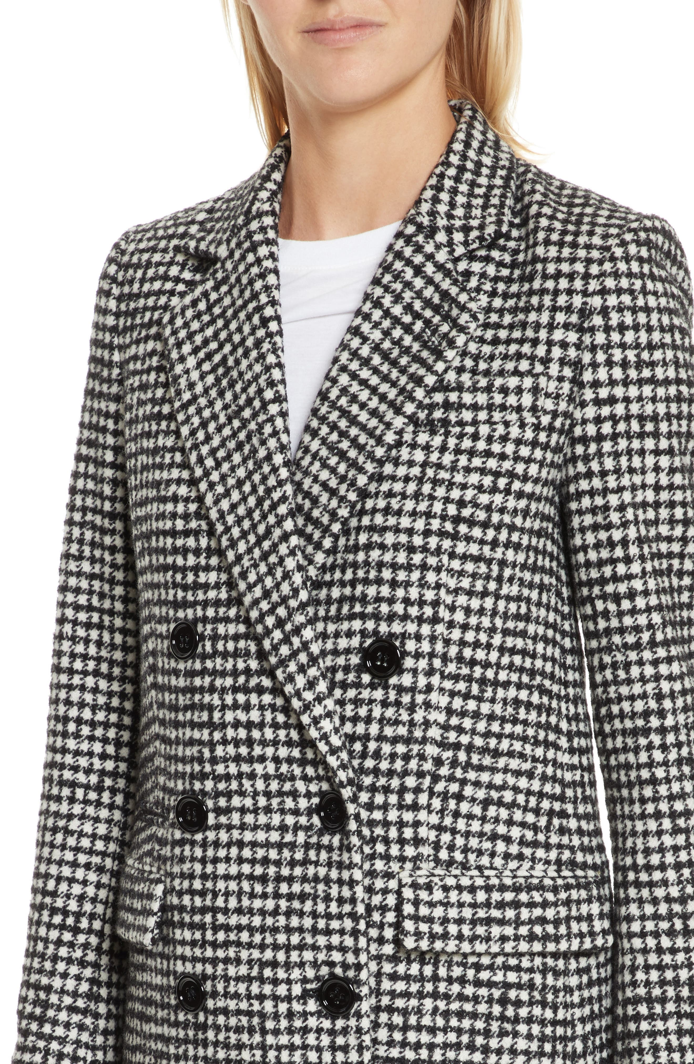 Double-Breasted Wool Blend Coat,                             Alternate thumbnail 4, color,                             001