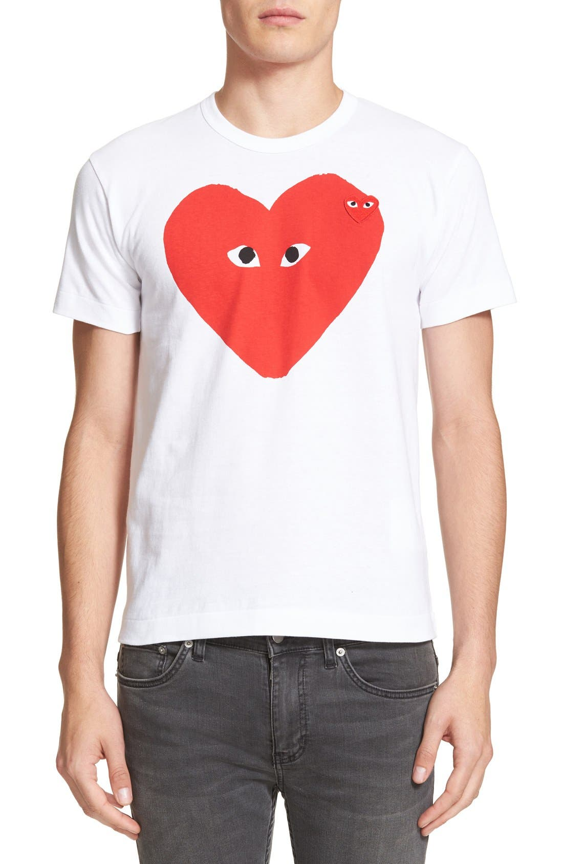 Comme des Garçons PLAY Graphic T-Shirt,                             Main thumbnail 1, color,                             WHITE