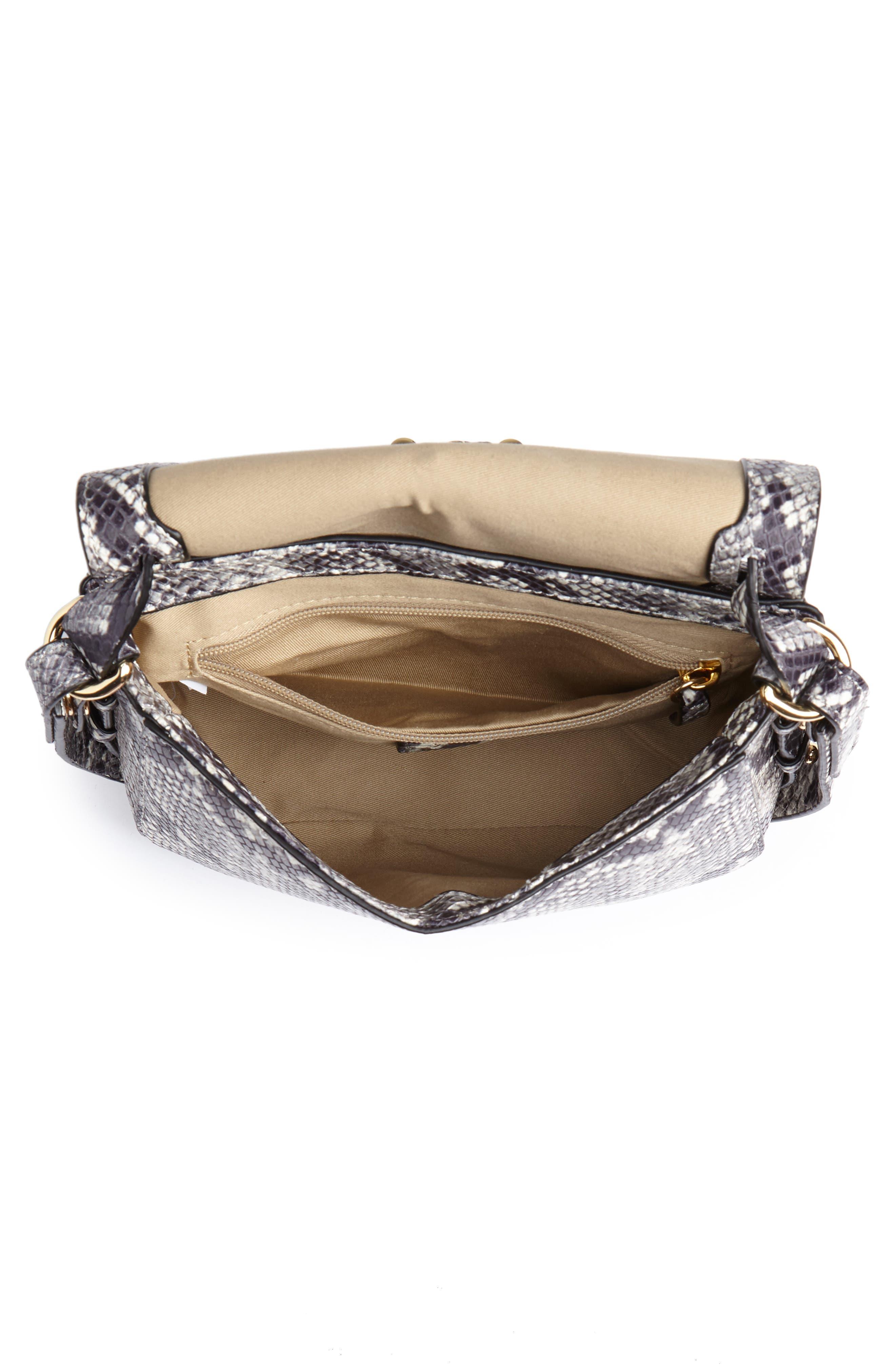 J.CREW,                             Harper Snake Embossed Leather Crossbody Bag,                             Alternate thumbnail 4, color,                             020