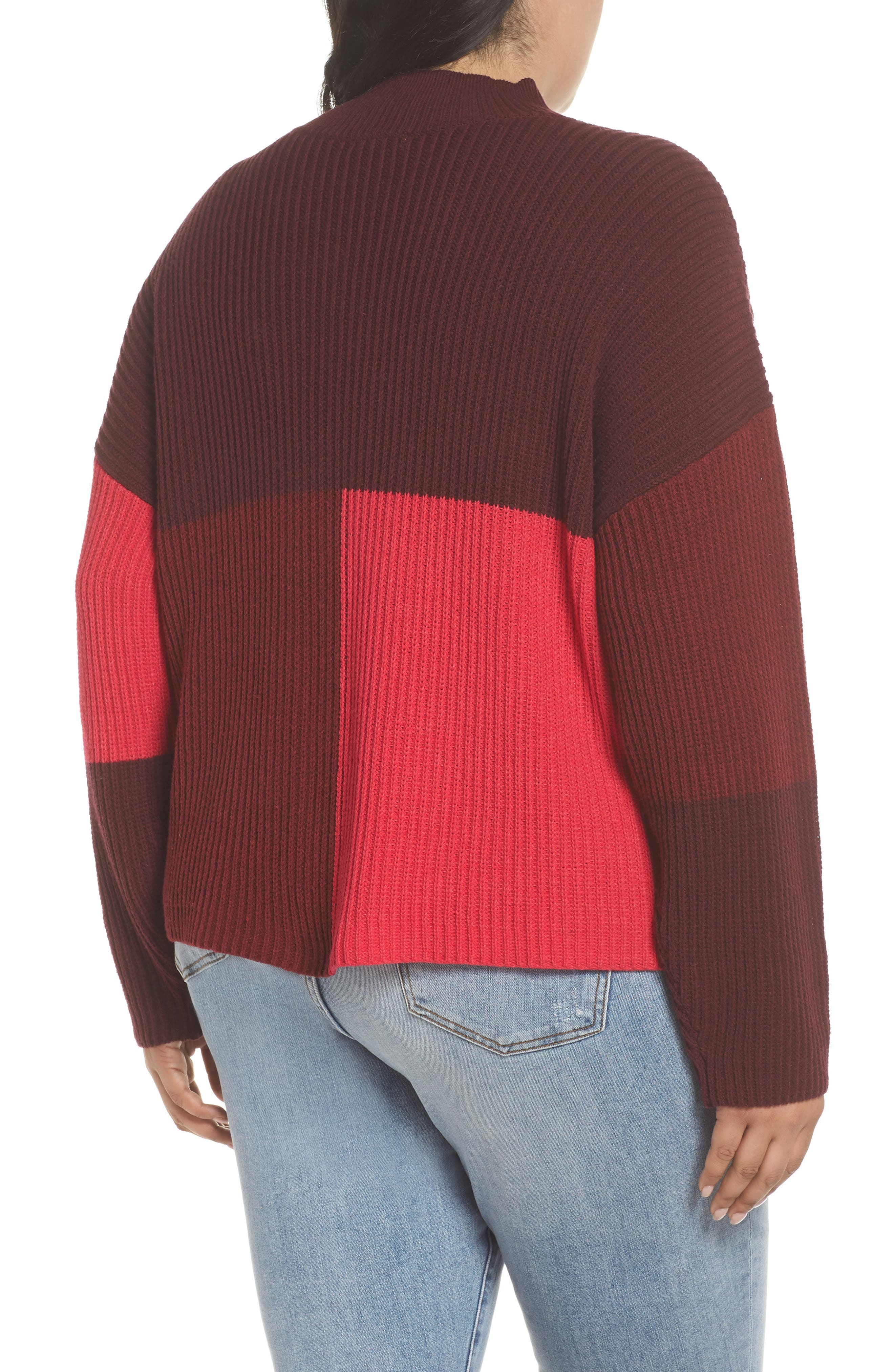 Mock Neck Colorblock Sweater,                             Alternate thumbnail 8, color,                             RED RUMBA COLORBLOCK