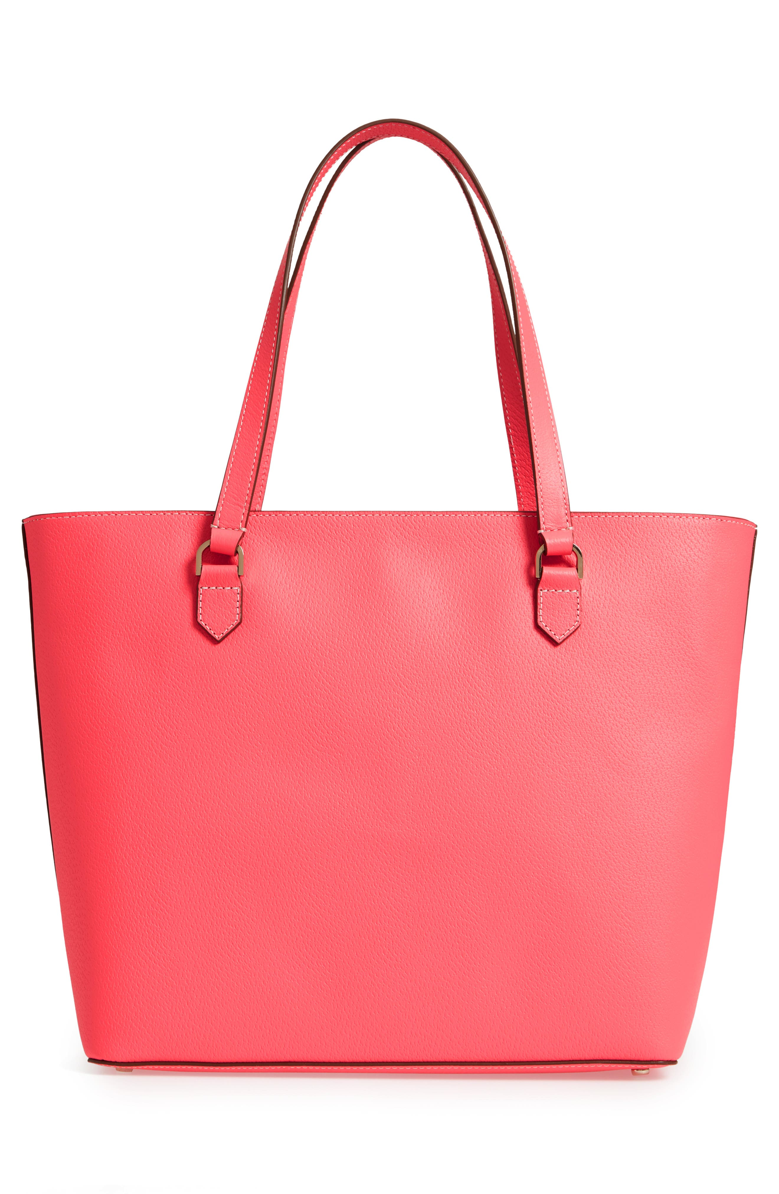 thompson street - kimberly leather tote,                             Alternate thumbnail 3, color,                             BRIGHT FLAMINGO
