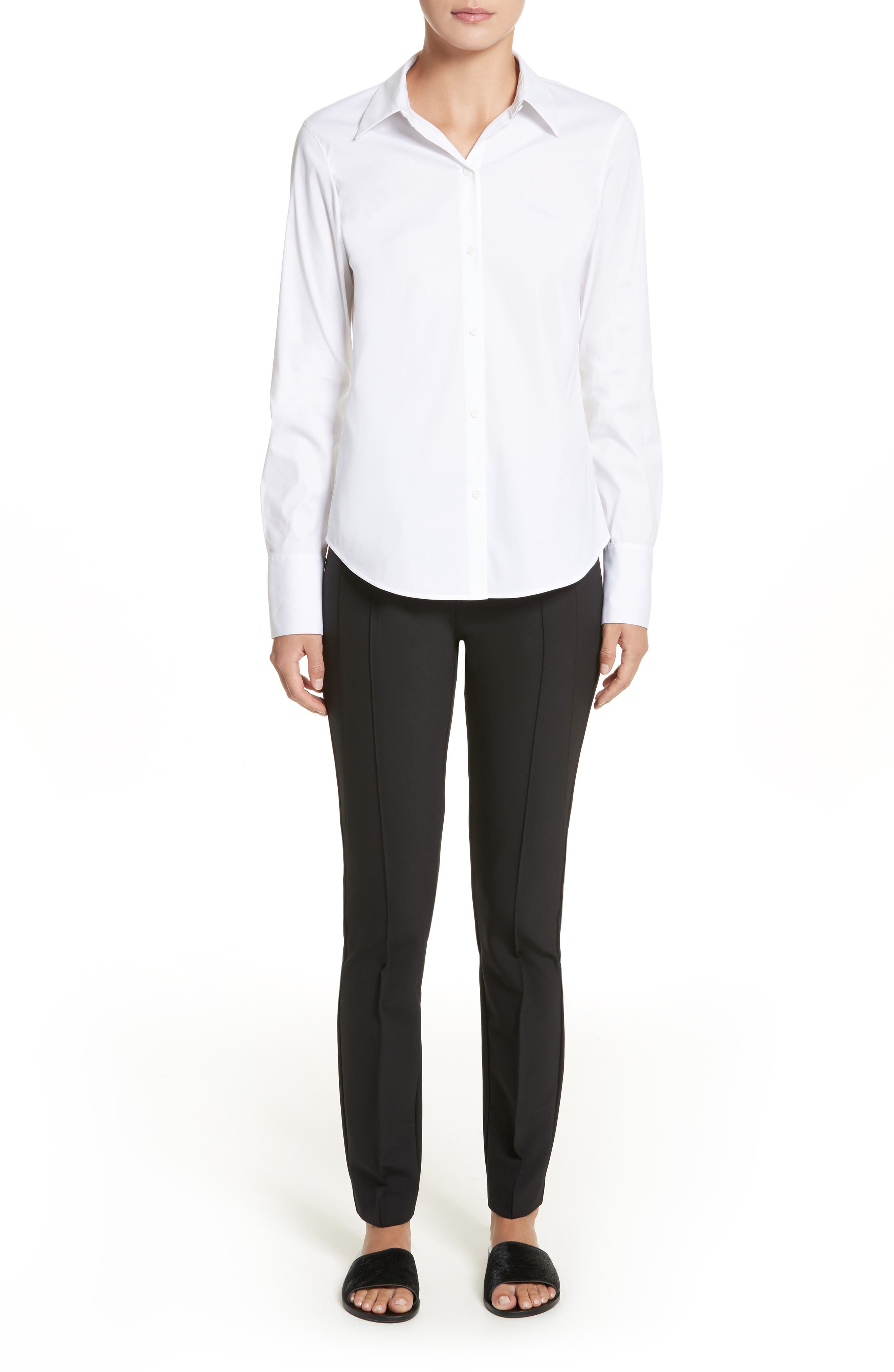 LAFAYETTE 148 NEW YORK,                             Linley Stretch Cotton Blouse,                             Alternate thumbnail 7, color,                             WHITE