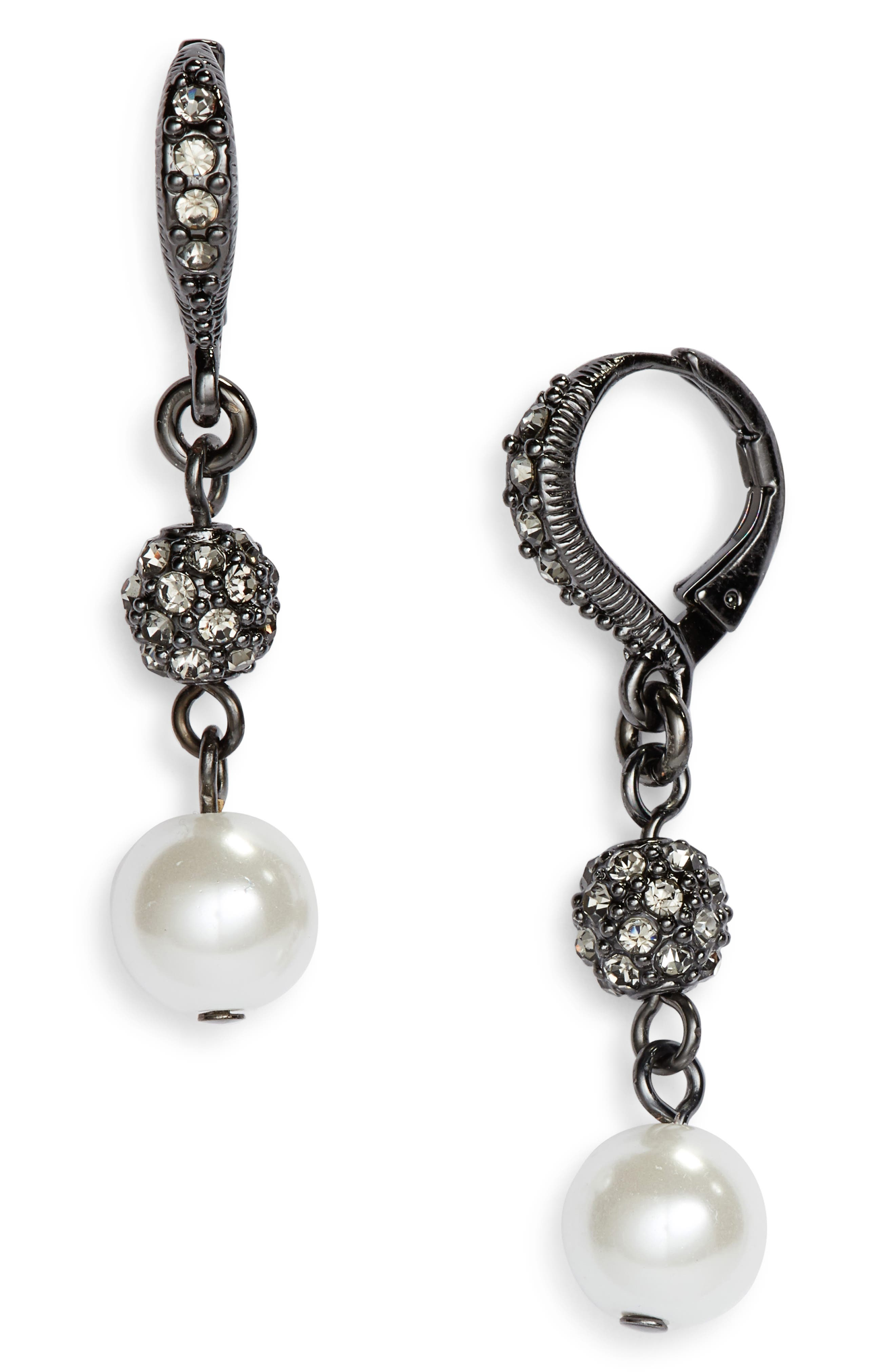 Imitation Pearl Double Drop Earrings,                         Main,                         color, WHITE/ HEMATITE