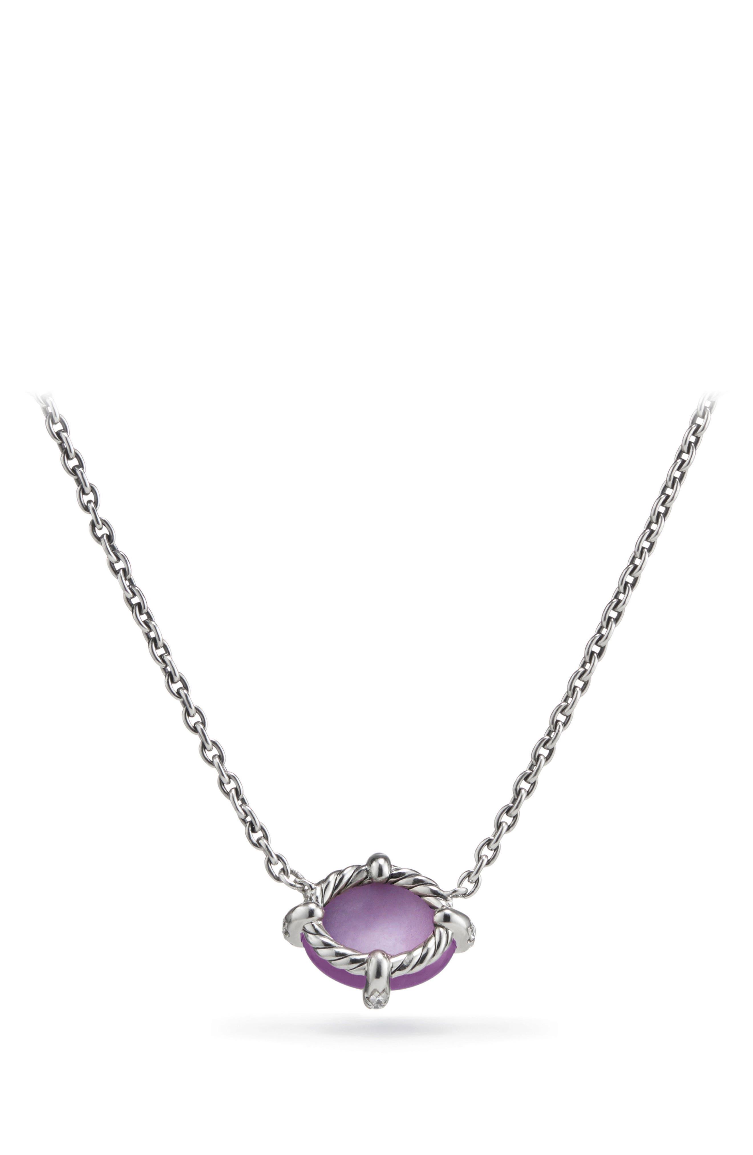Chatelaine<sup>®</sup> Gemstone & Diamond Necklace,                             Alternate thumbnail 2, color,                             SILVER/ DIAMOND/ AMETHYST
