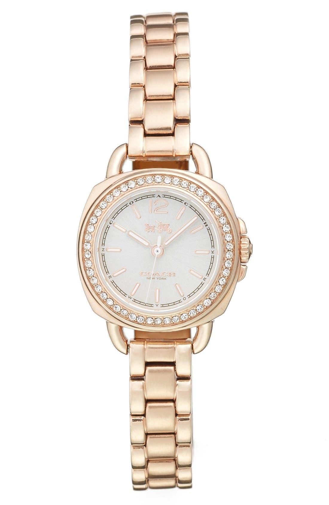 'Tatum' Crystal Bezel Bracelet Watch, 24mm,                             Main thumbnail 1, color,                             ROSE GOLD/ SILVER