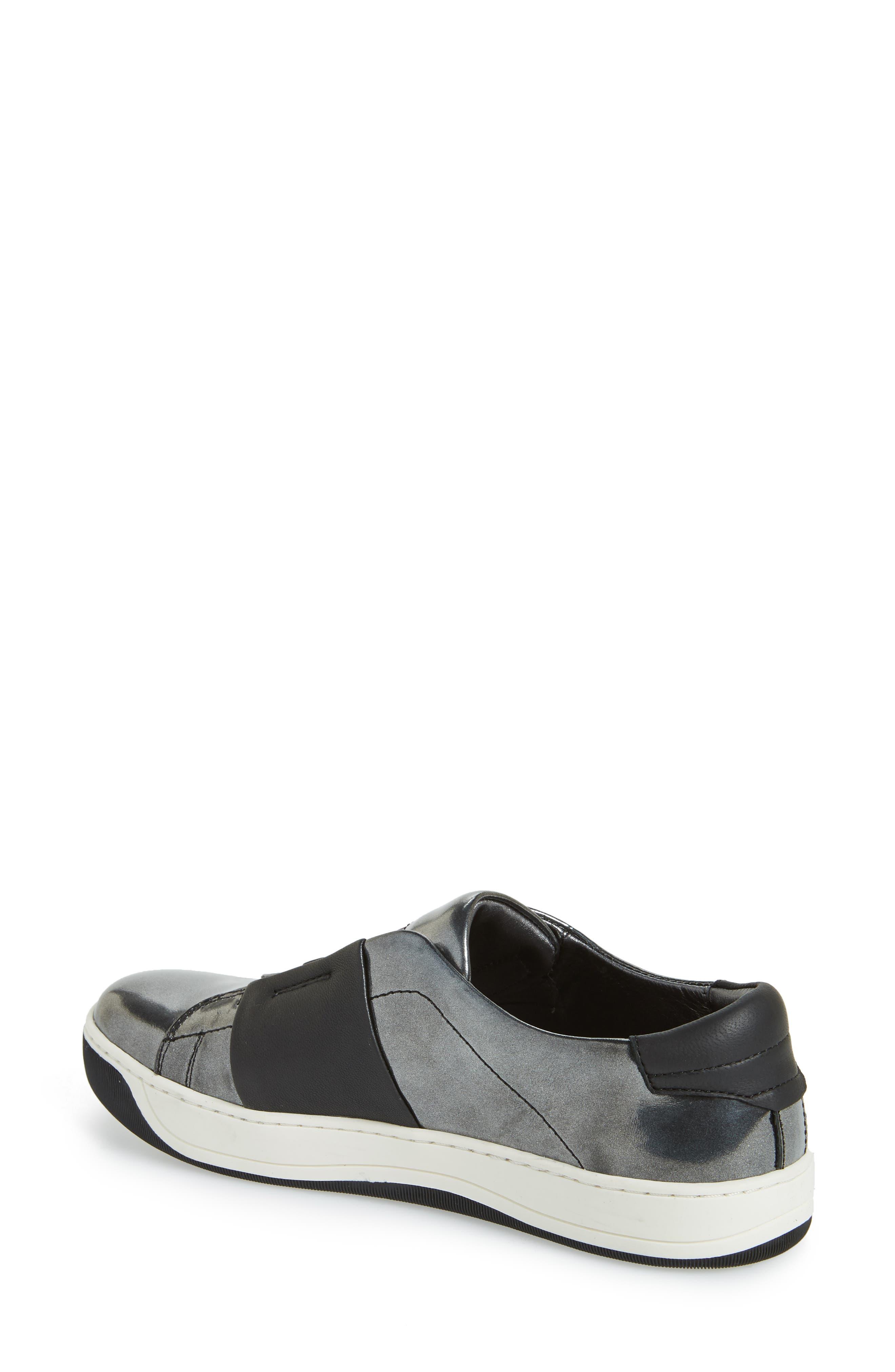 JOHNSTON & MURPHY,                             Eden Slip-On Sneaker,                             Alternate thumbnail 2, color,                             GRAPHITE LEATHER