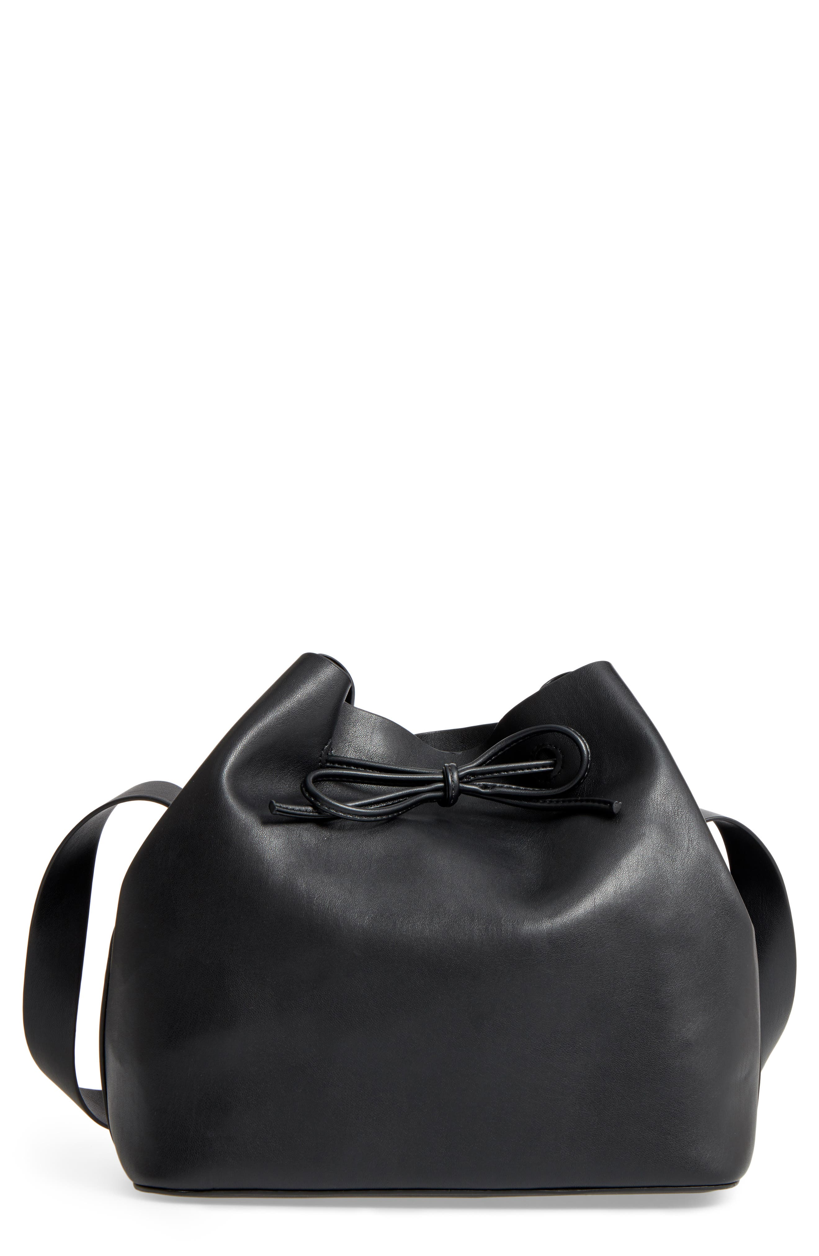 Stella Faux Leather Bucket Bag, Main, color, 001