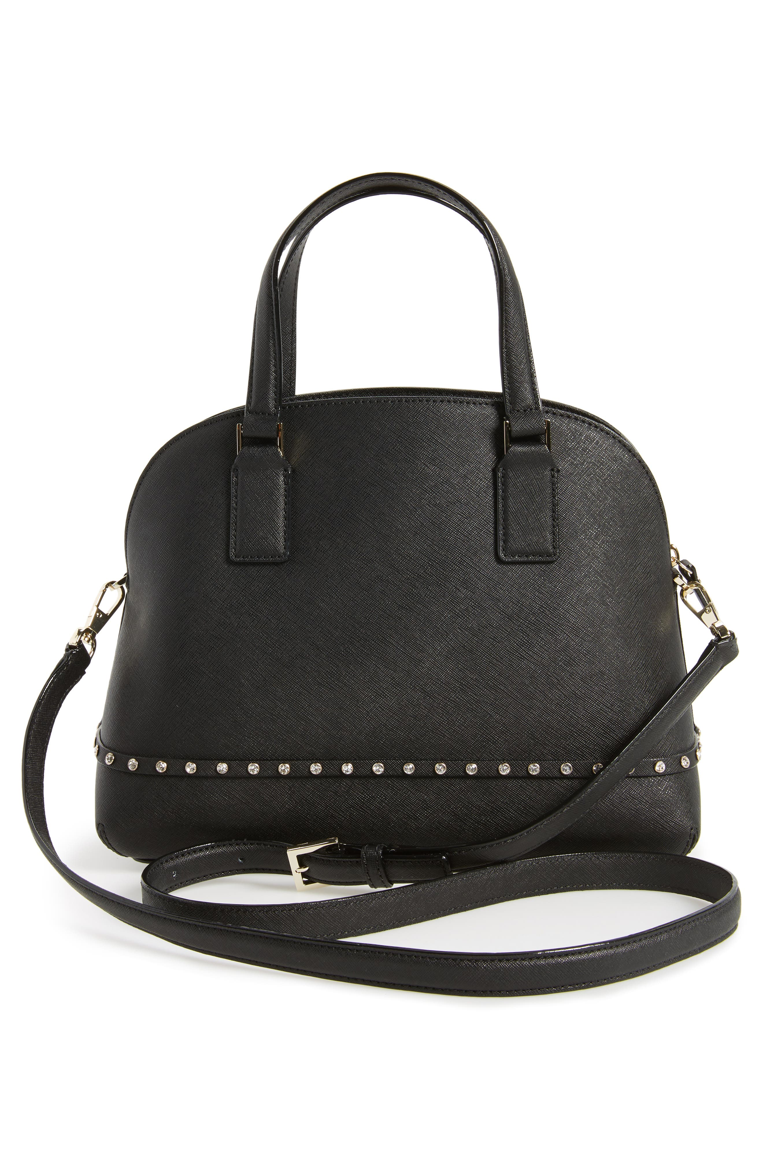 cameron street - jeweled lottie leather satchel,                             Alternate thumbnail 3, color,                             001