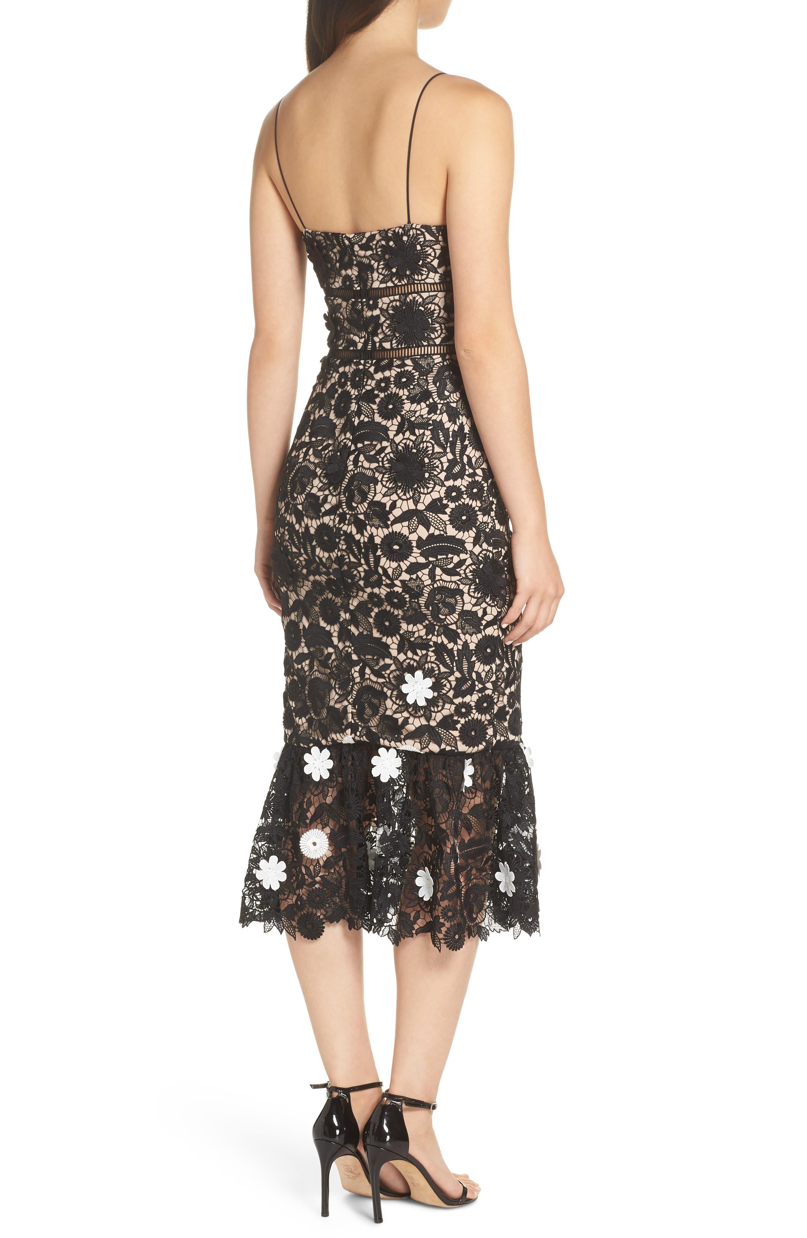 ML MONIQUE LHUILLIER,                             3D Floral Lace Cocktail Dress,                             Alternate thumbnail 2, color,                             001