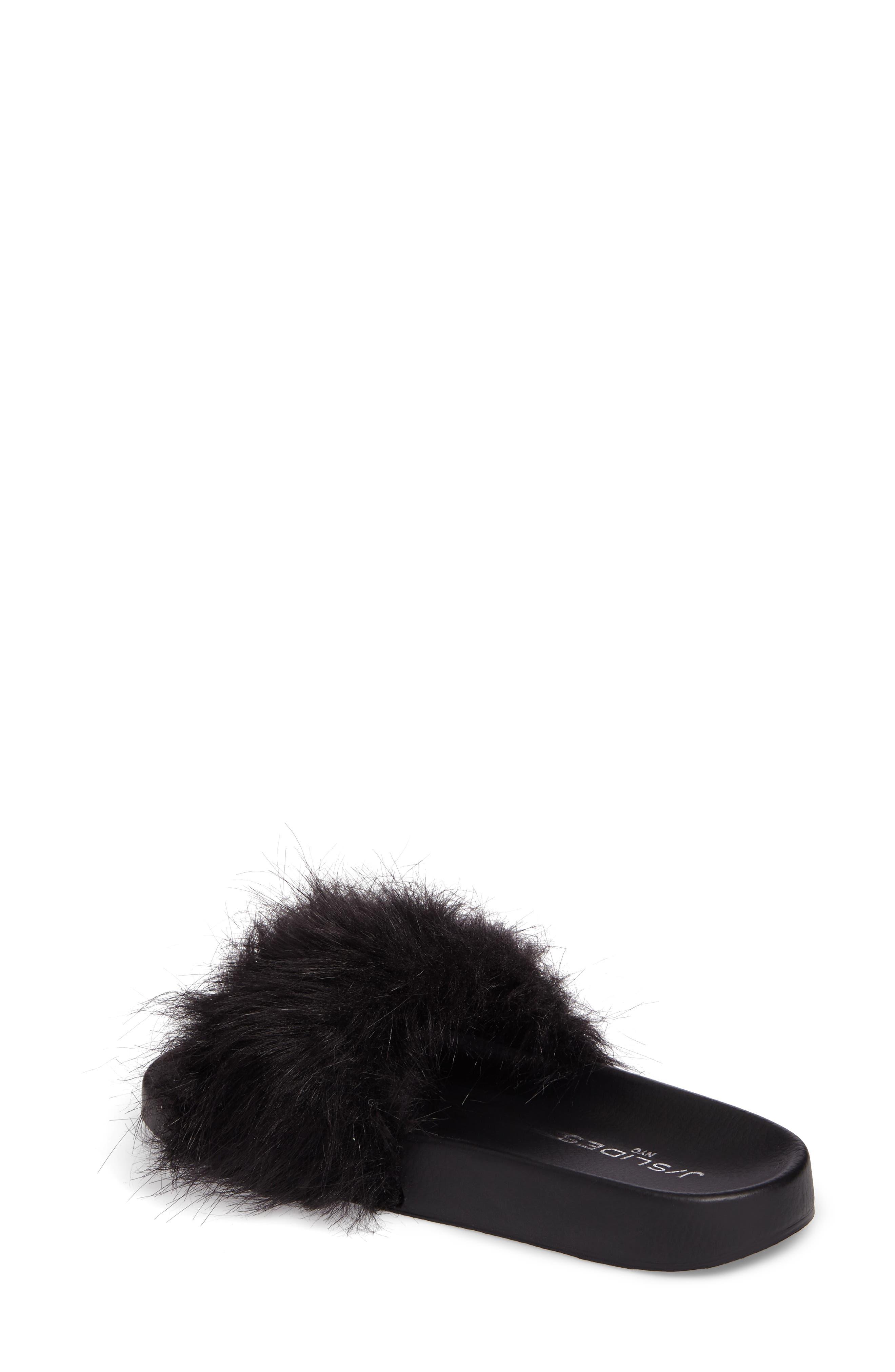 Sophie Faux Fur Slide Sandal,                             Alternate thumbnail 2, color,                             001