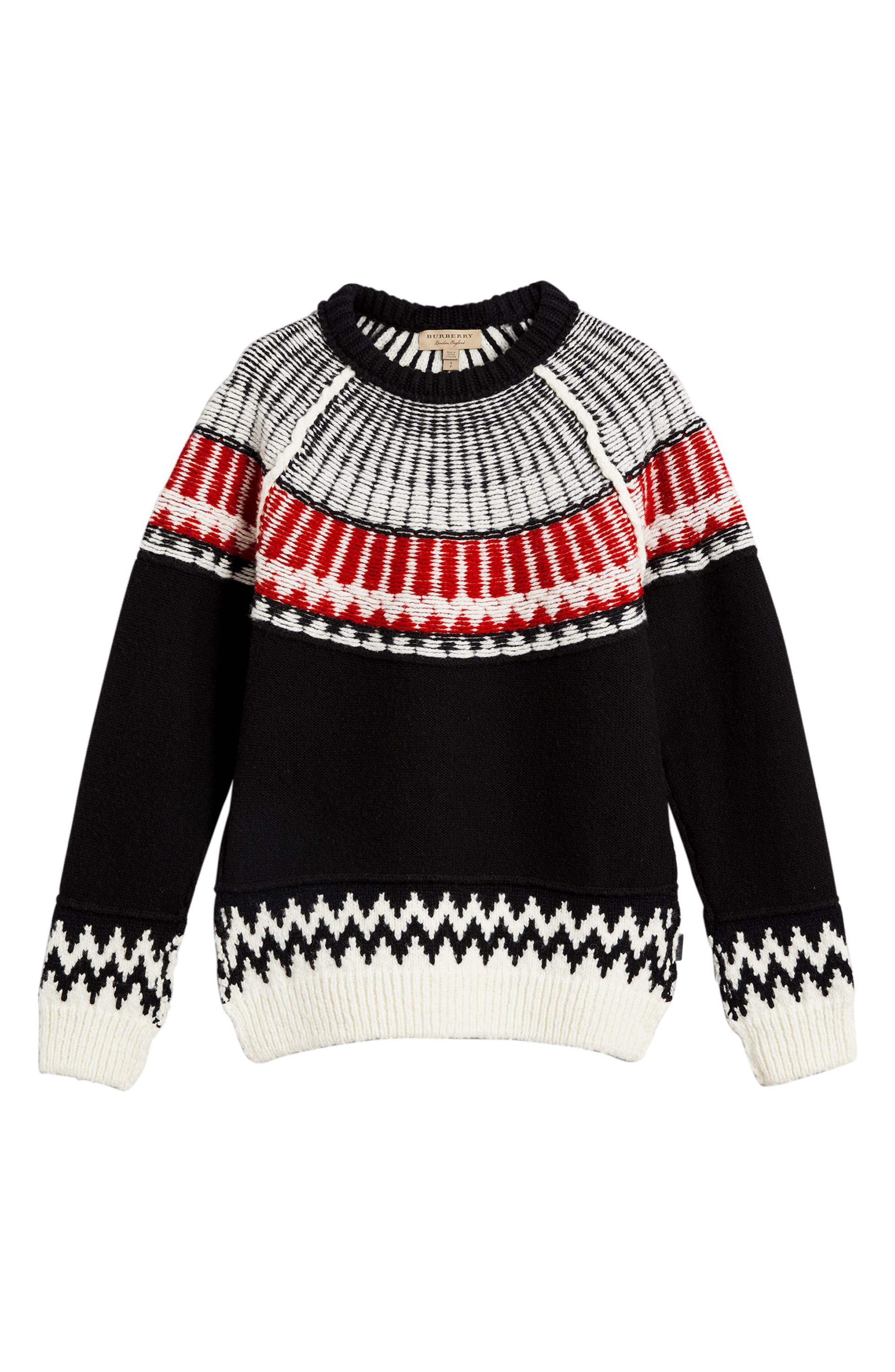 Trycroft Fair Isle Wool Blend Sweater,                             Alternate thumbnail 4, color,                             001