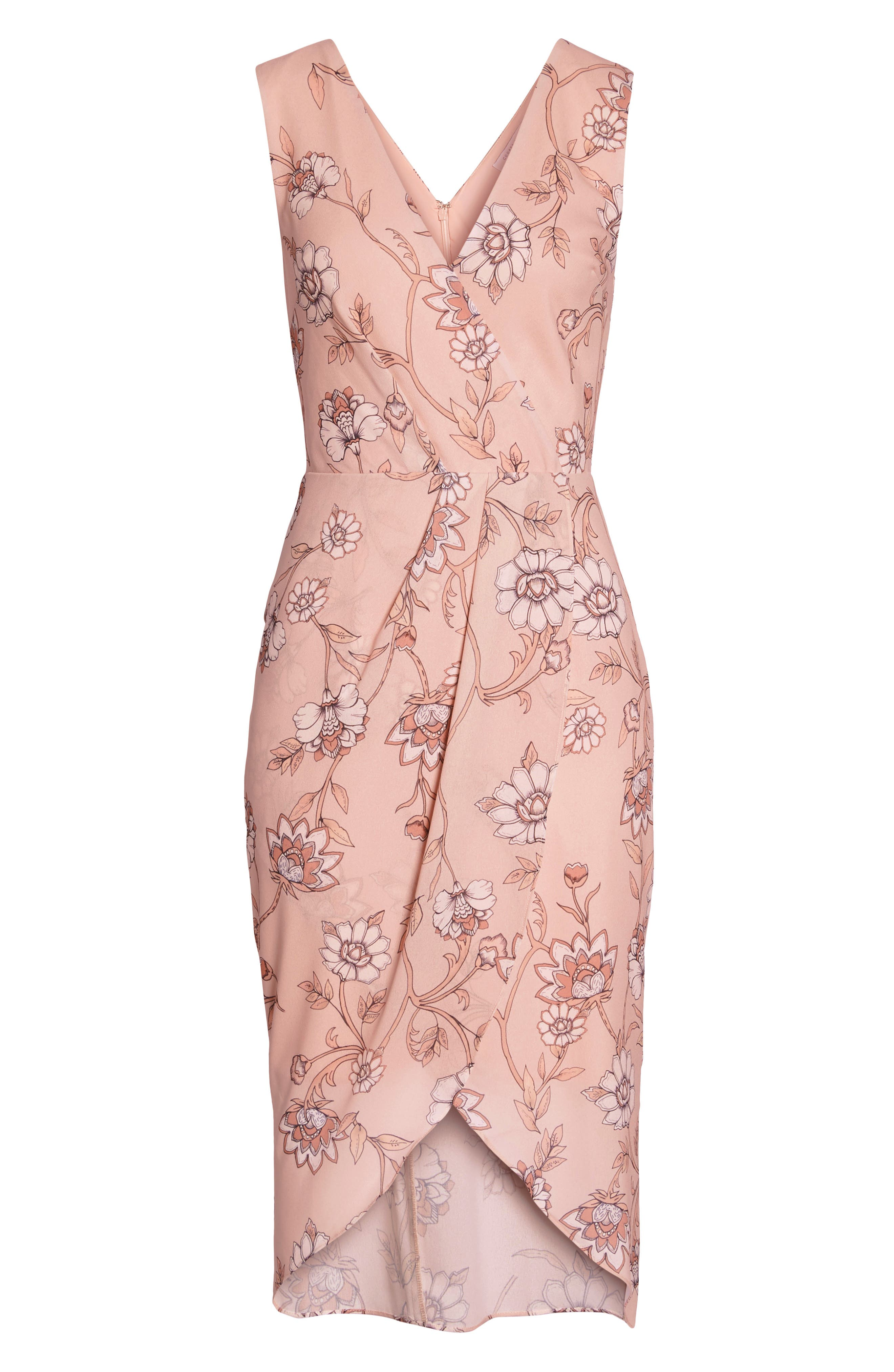 Fiorella Floral Draped Sheath Dress,                             Alternate thumbnail 8, color,                             668