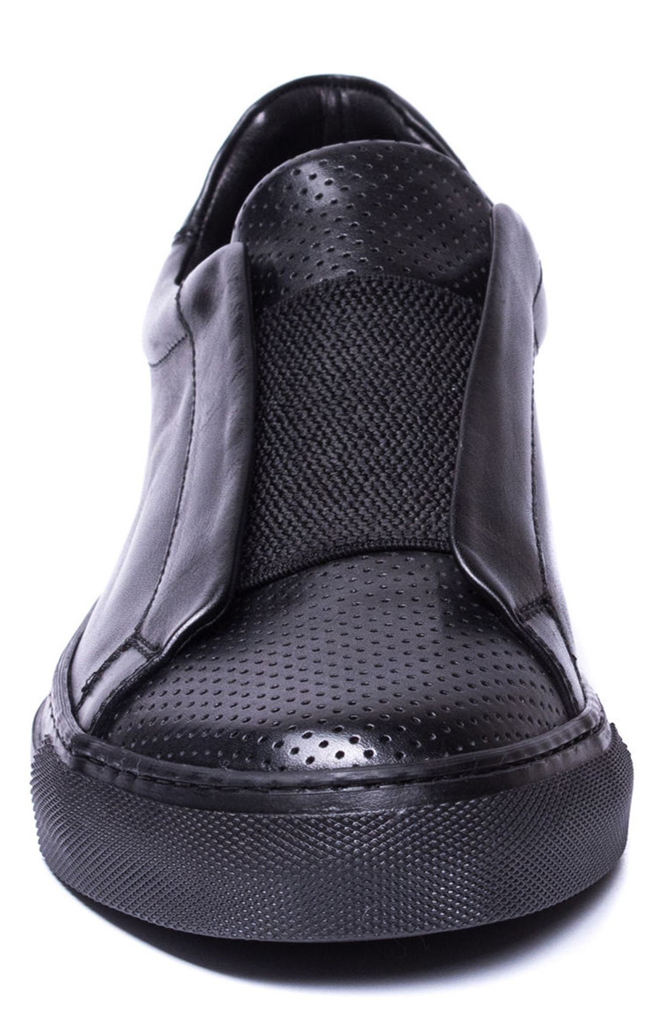 Mane Laceless Perforated Sneaker,                             Alternate thumbnail 4, color,                             BLACK LEATHER