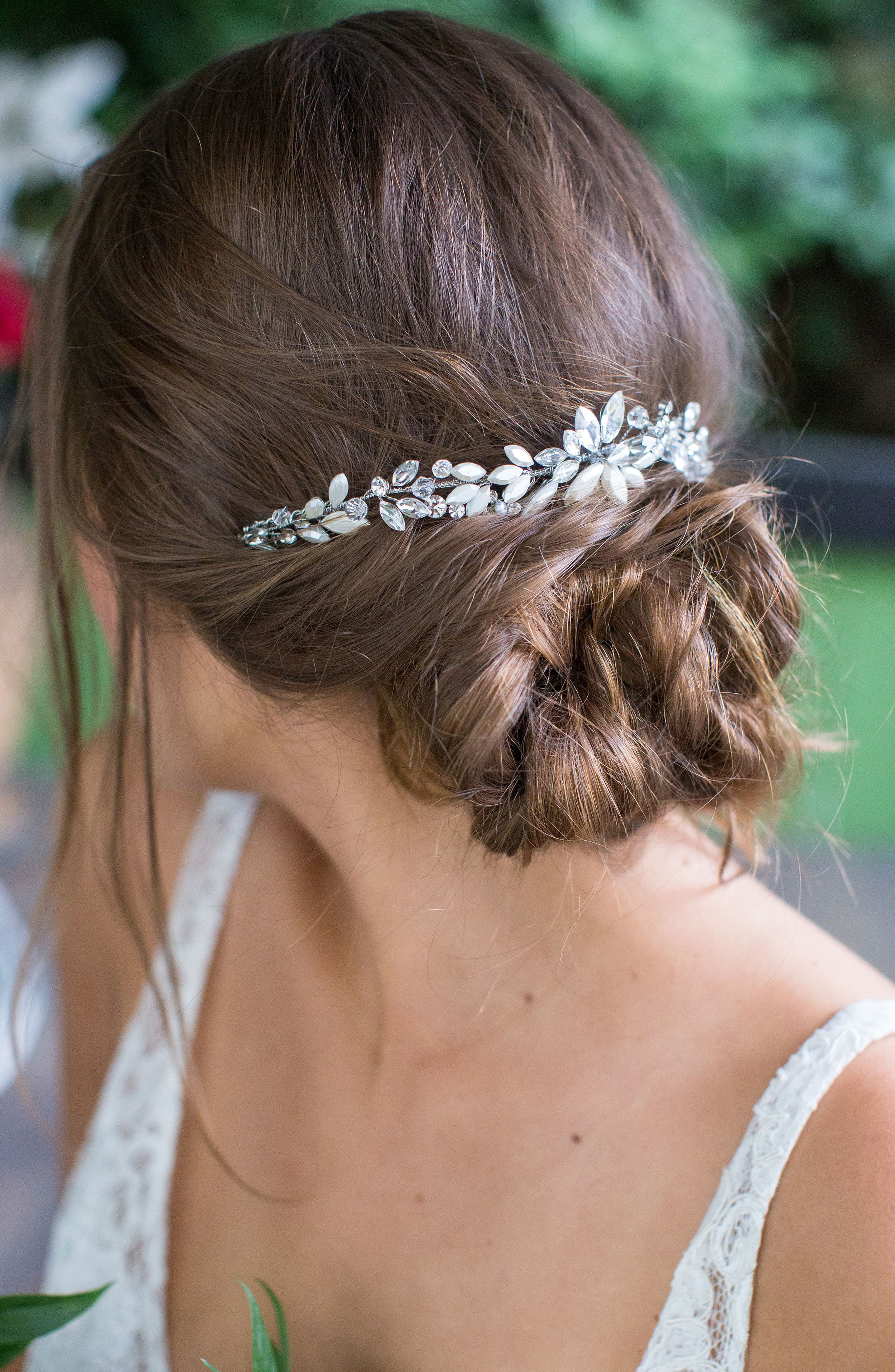 Rhea Halo with Combs,                         Main,                         color, CLASSIC SILVER