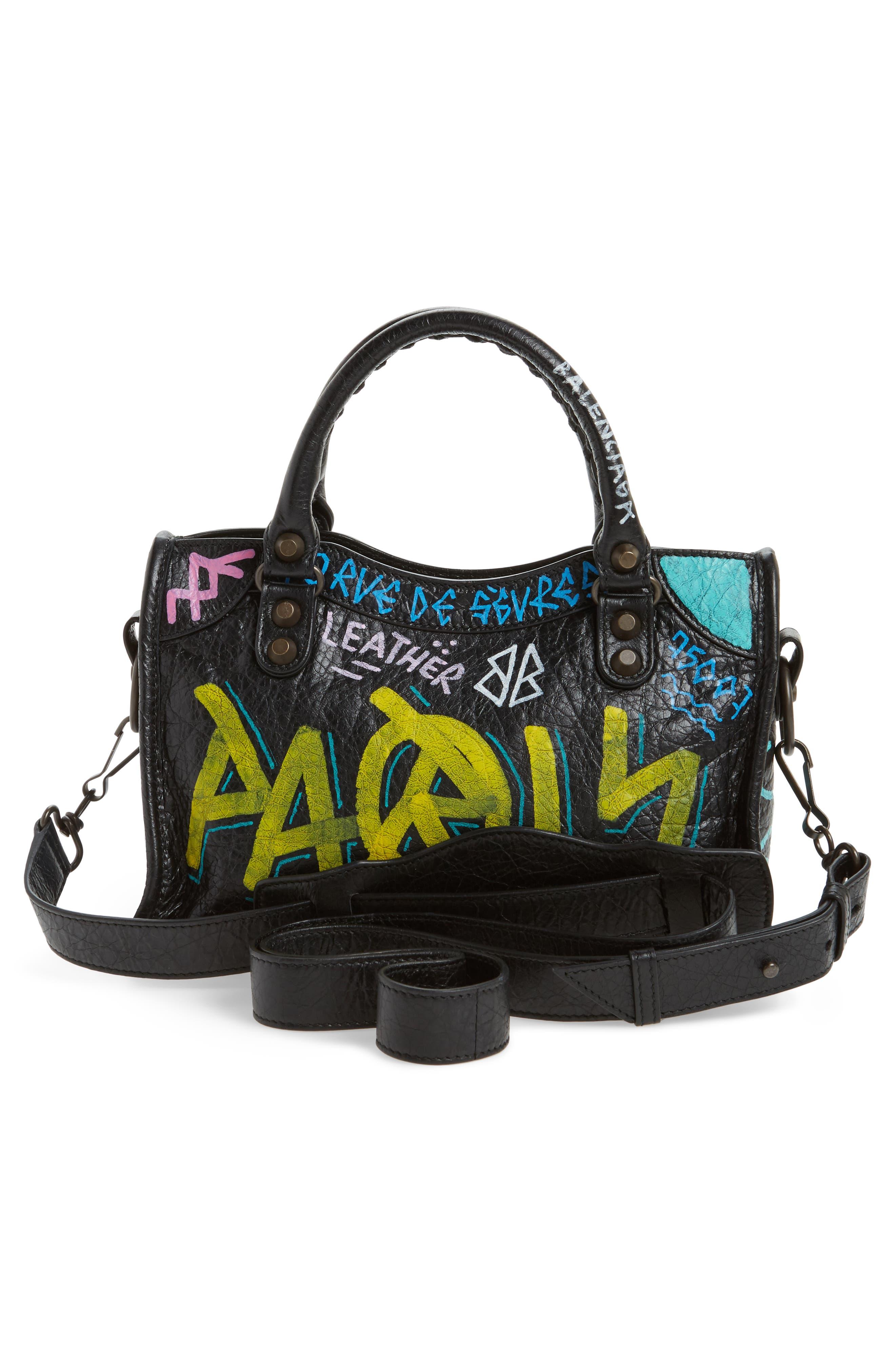 Mini City Graffiti Leather Tote,                             Alternate thumbnail 3, color,                             001