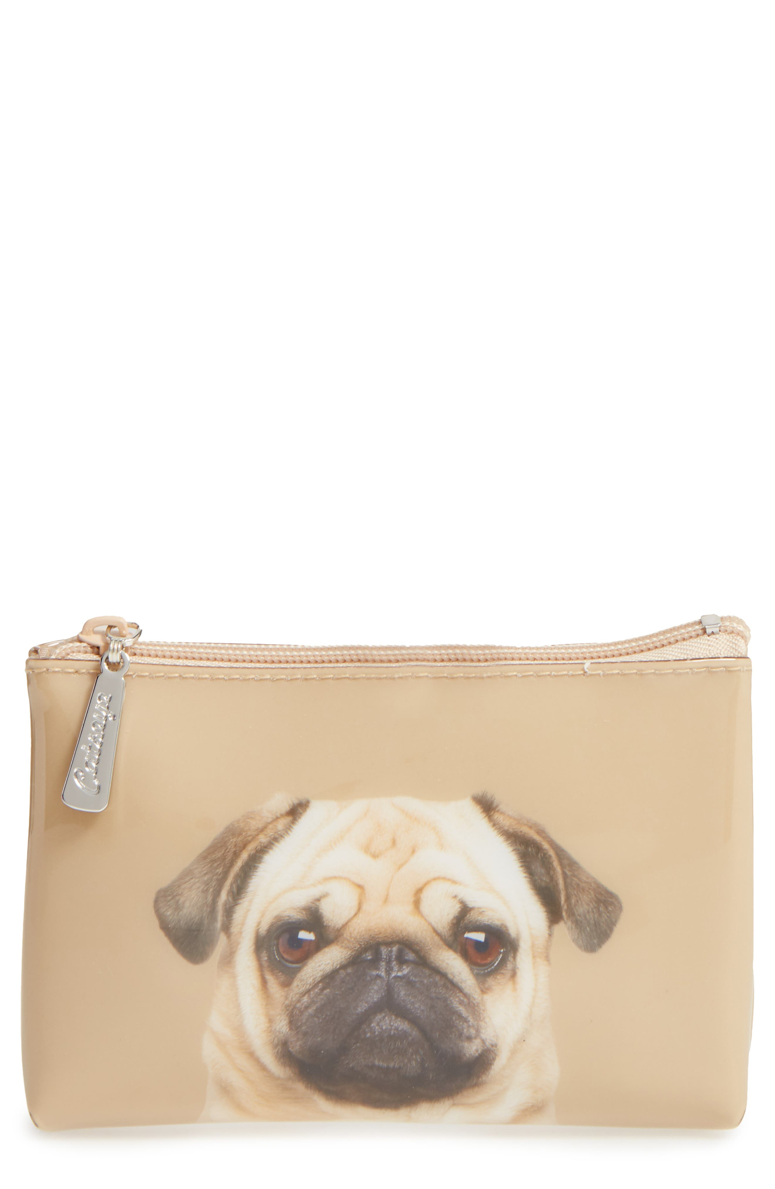 Caramel Pug Small Zip Pouch,                             Main thumbnail 1, color,                             200