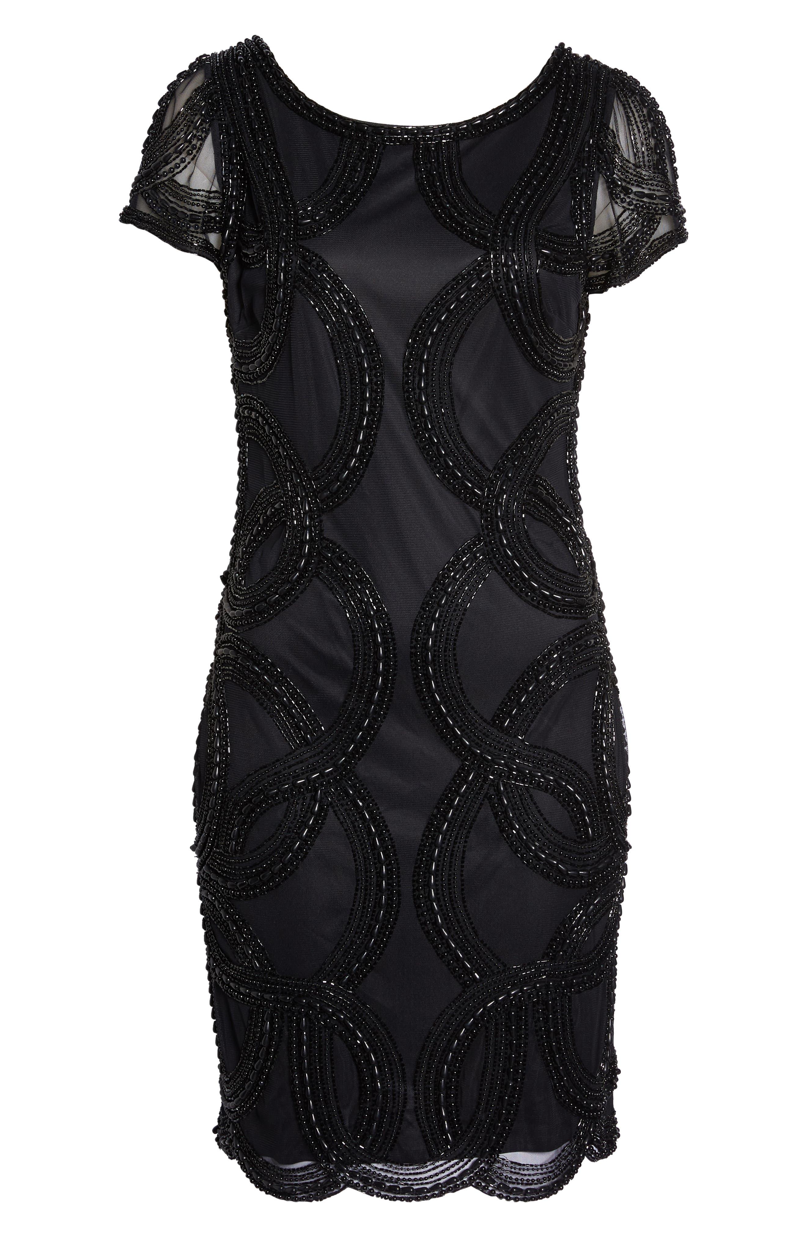 Beaded Swirls Cocktail Dress,                             Alternate thumbnail 7, color,                             BLACK