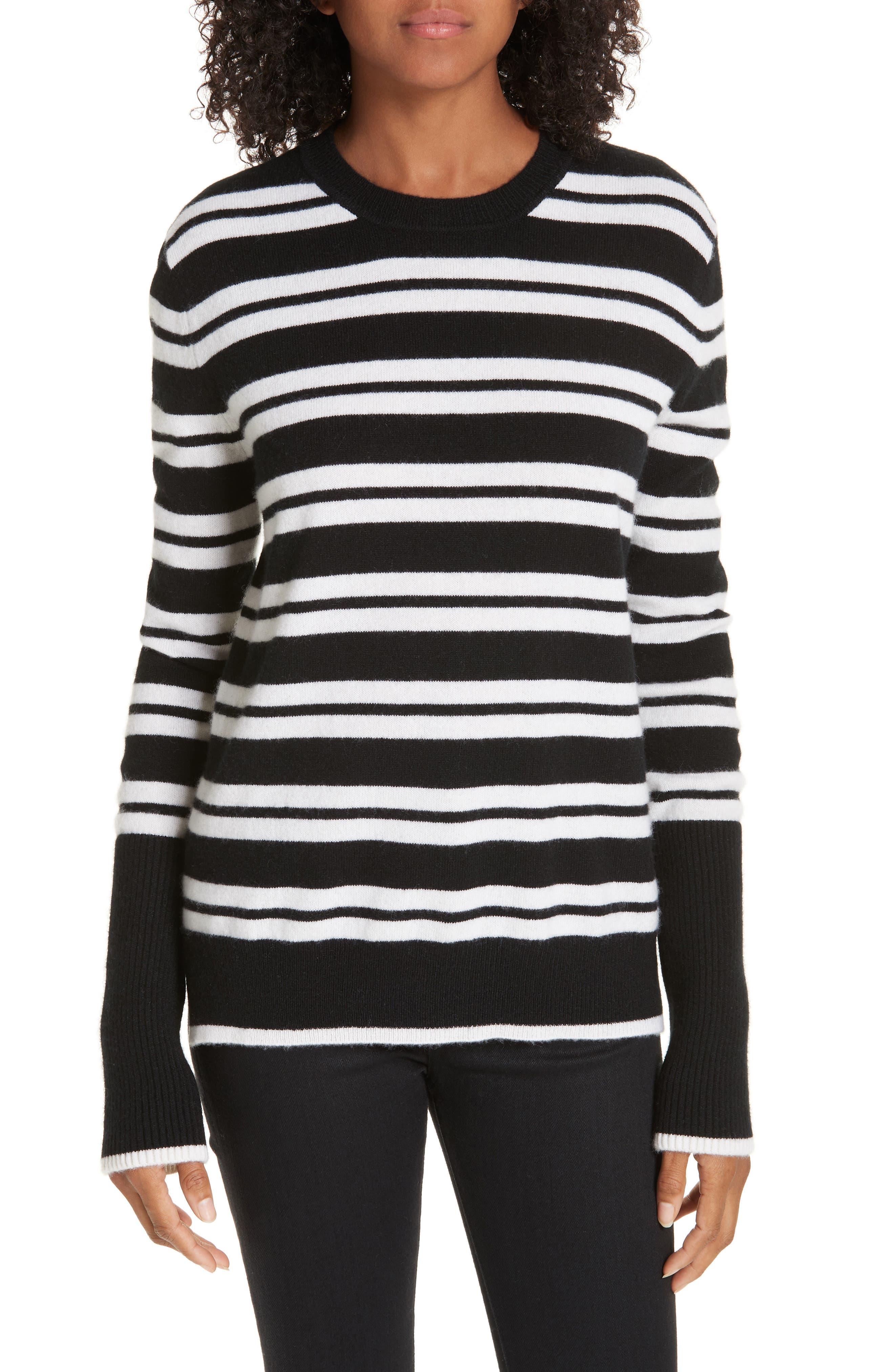 LA LIGNE Le Ligne Tripe Stripe Cashmere Sweater in Black/ Cream