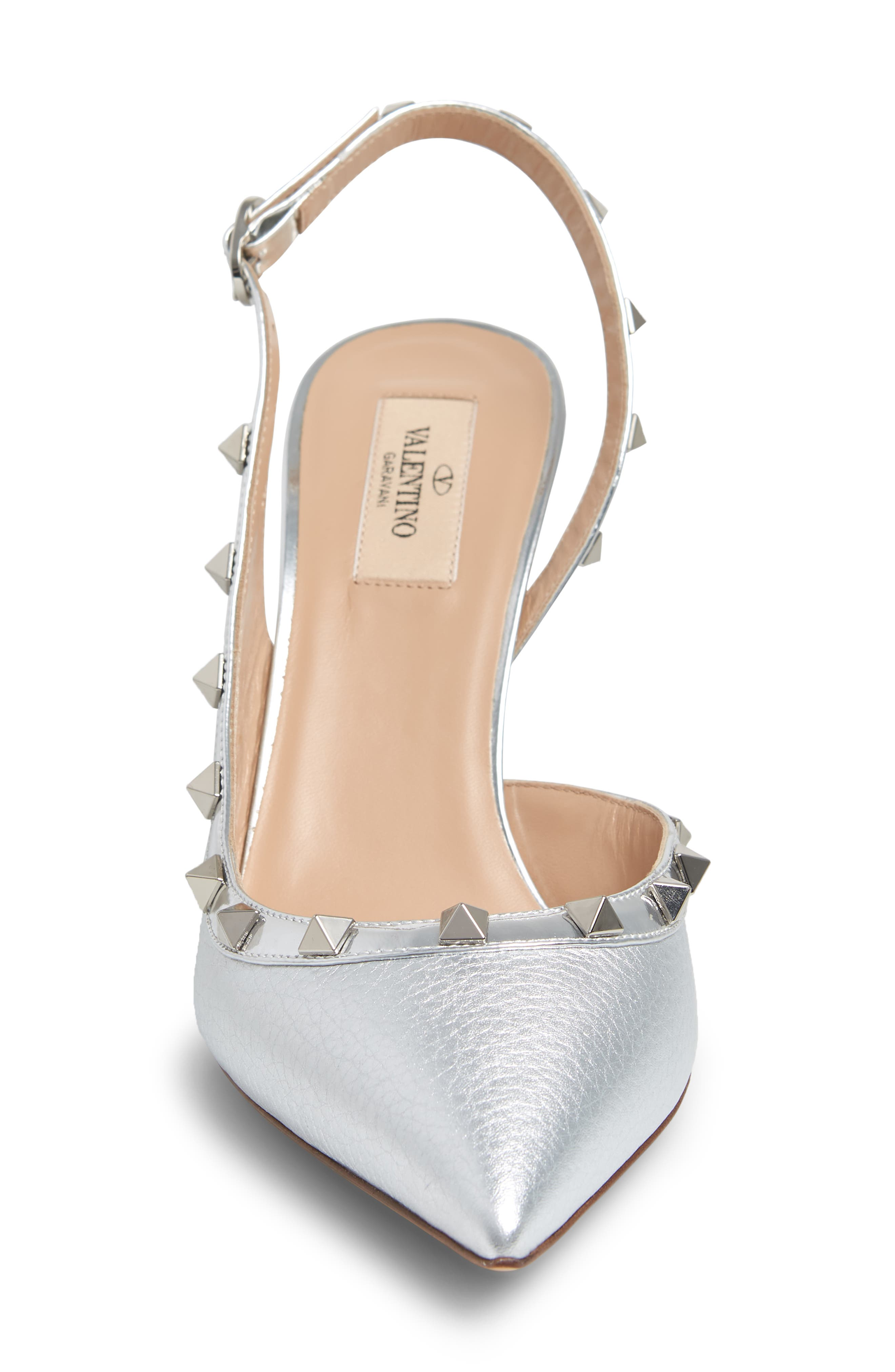 Rockstud Slingback Pump,                             Alternate thumbnail 4, color,                             SILVER