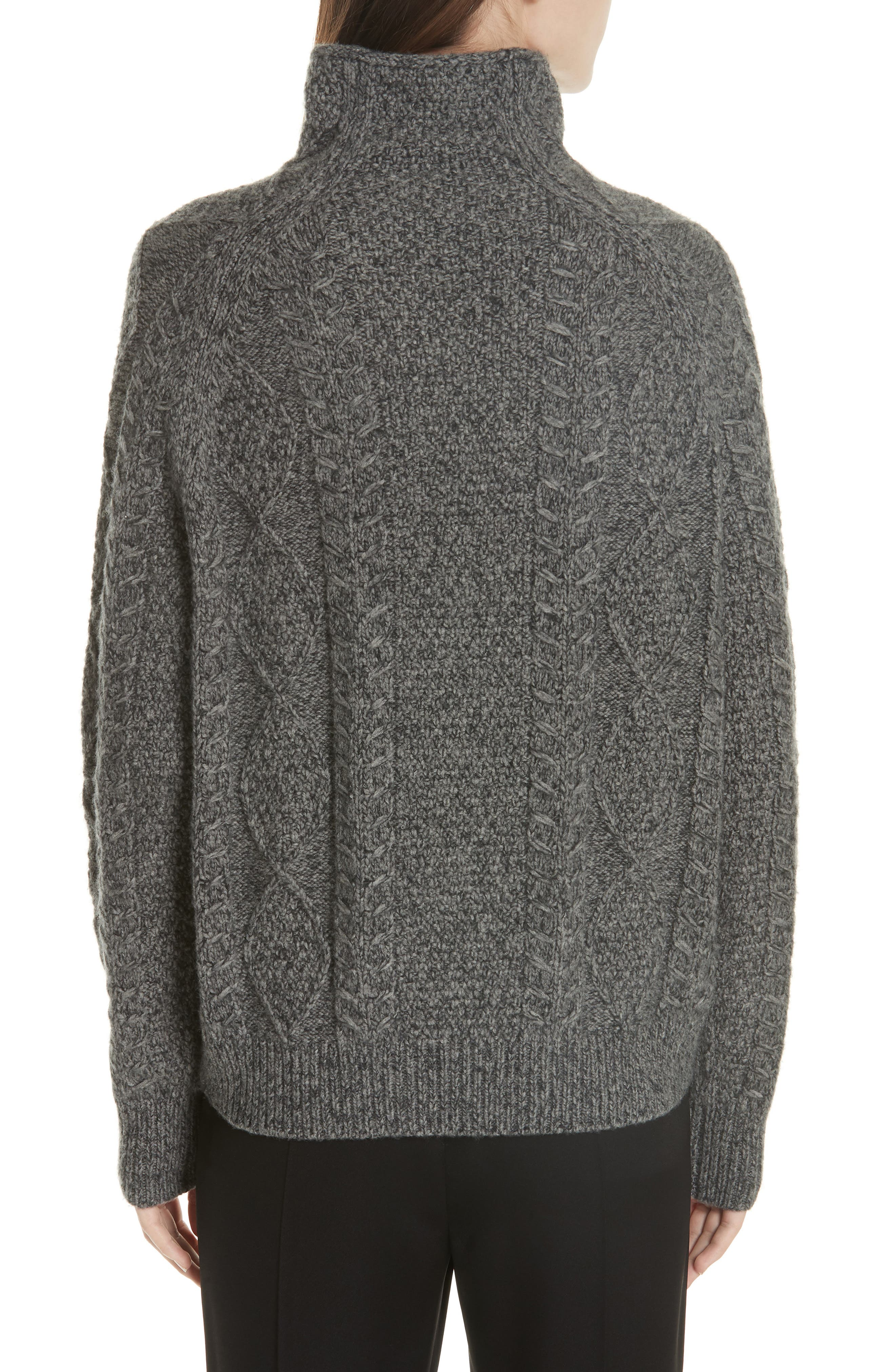 Cable Turtleneck Sweater,                             Alternate thumbnail 2, color,                             HEATHER STONE/ HEATHER CARBON