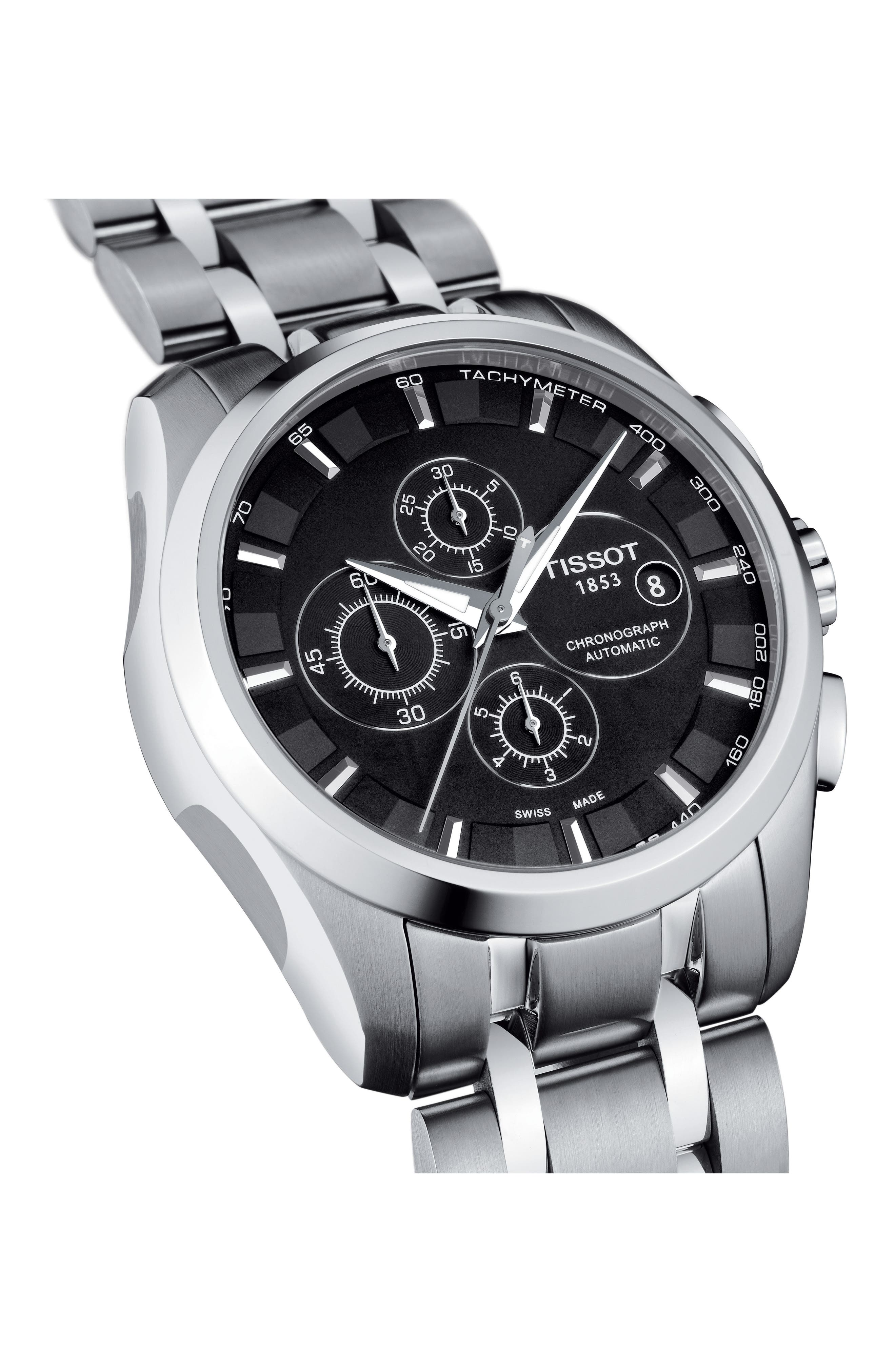 Couturier Automatic Chronograph Bracelet Watch, 43mm,                             Alternate thumbnail 2, color,                             SILVER/ BLACK/ SILVER