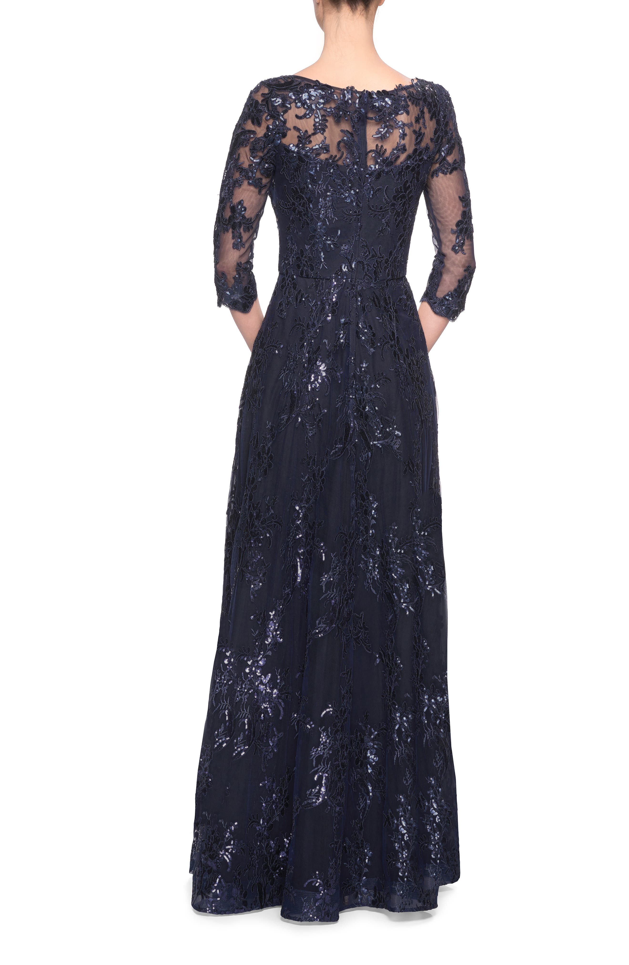 Shimmer Sequin Lace Evening Dress,                             Alternate thumbnail 2, color,                             NAVY