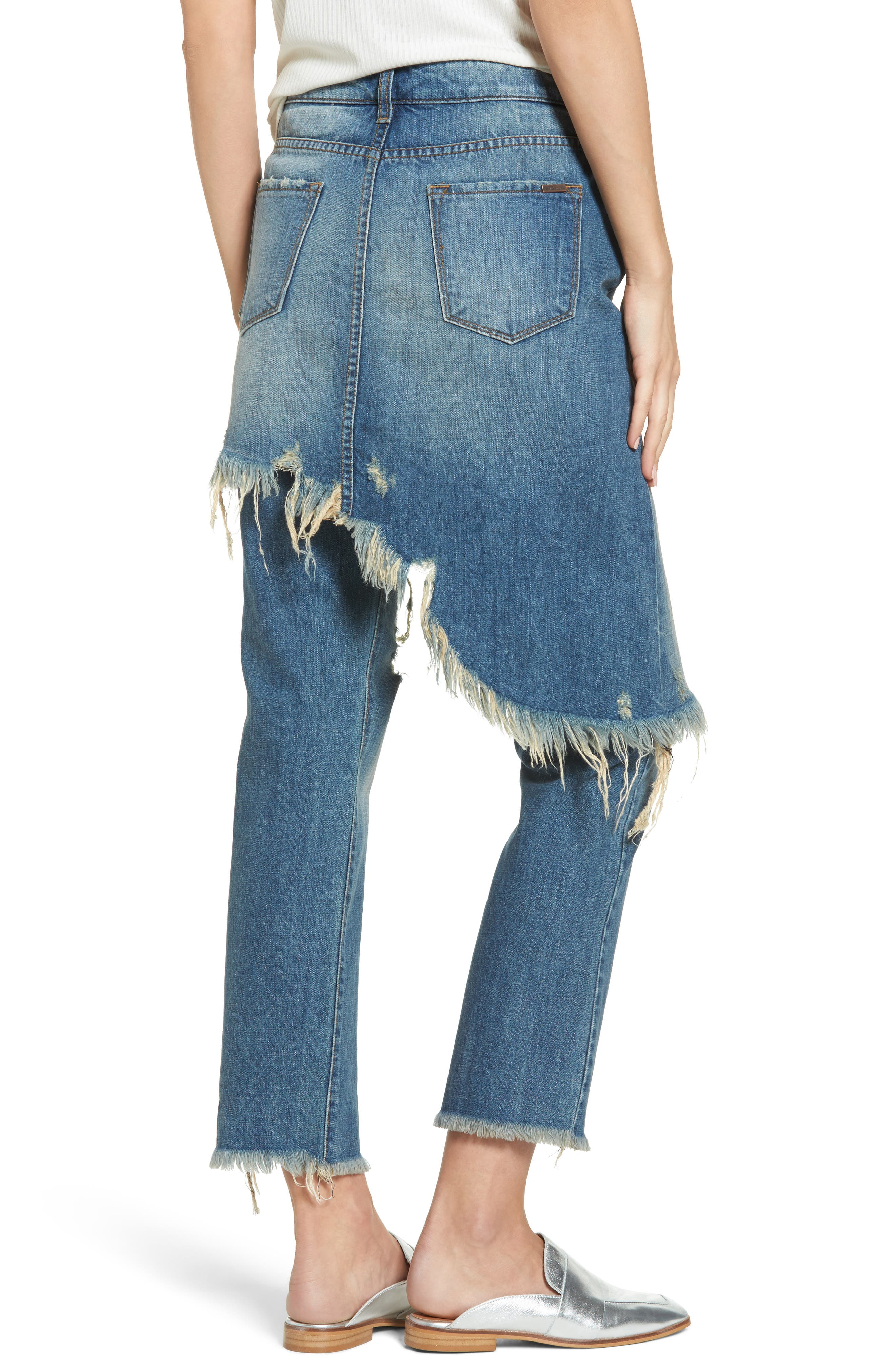 Layered Ripped Skirt Jeans,                             Alternate thumbnail 2, color,                             400