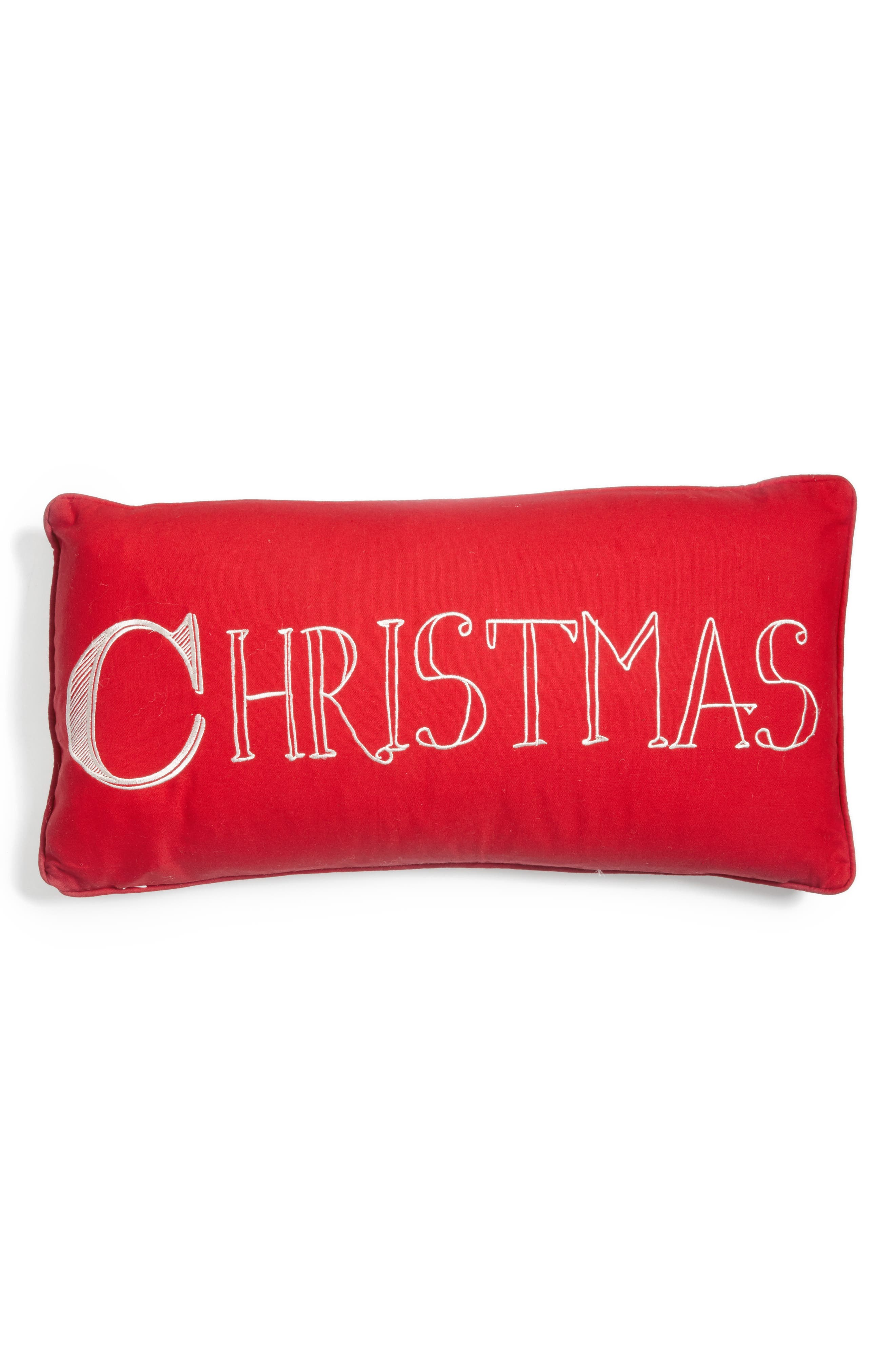 Merry Christmas Reversible Pillow,                             Main thumbnail 1, color,                             RED