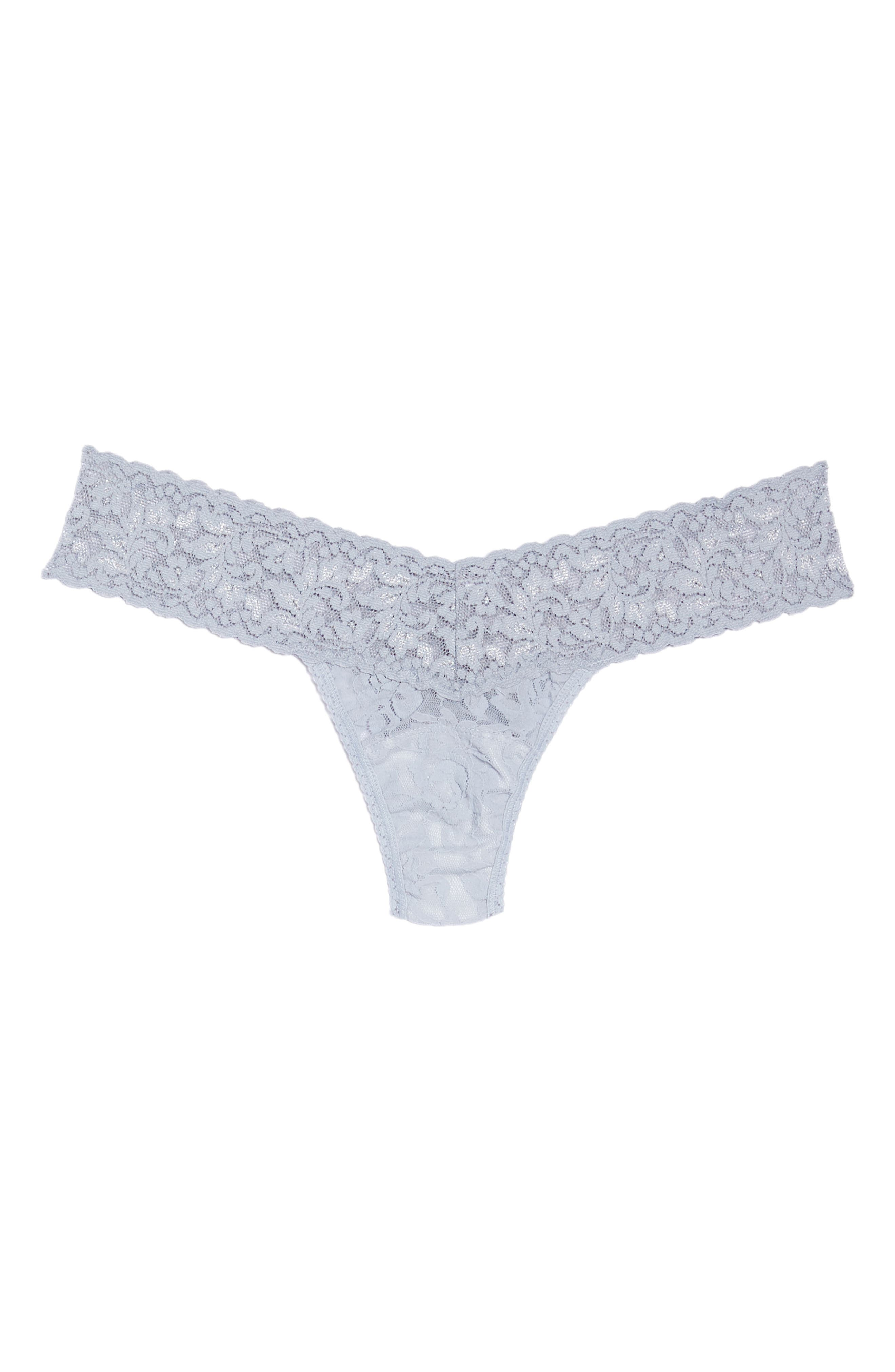 Signature Lace Low Rise Thong,                             Alternate thumbnail 6, color,                             SHINING ARMOUR