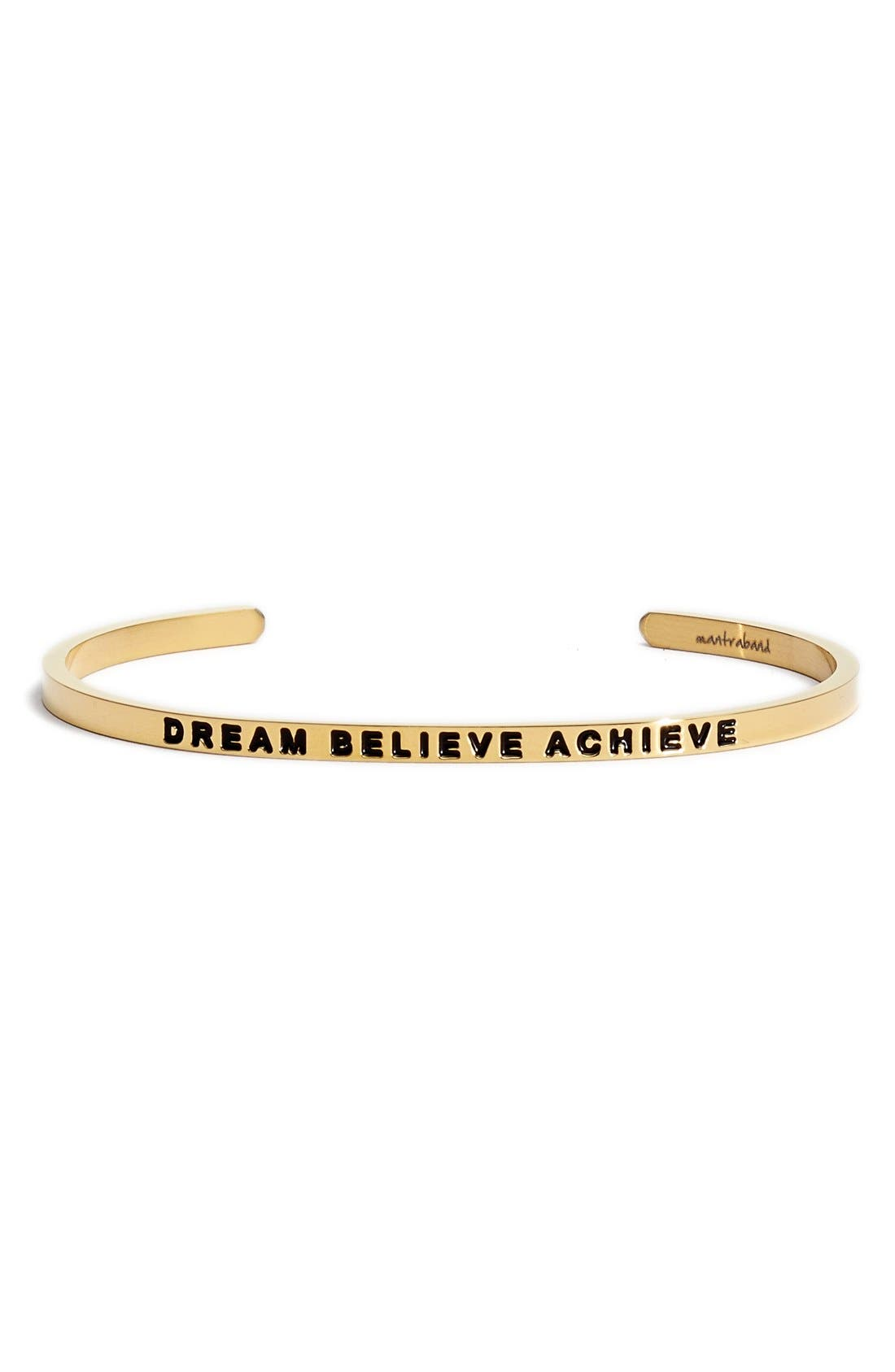'Dream Believe Achieve' Cuff,                             Main thumbnail 1, color,                             GOLD