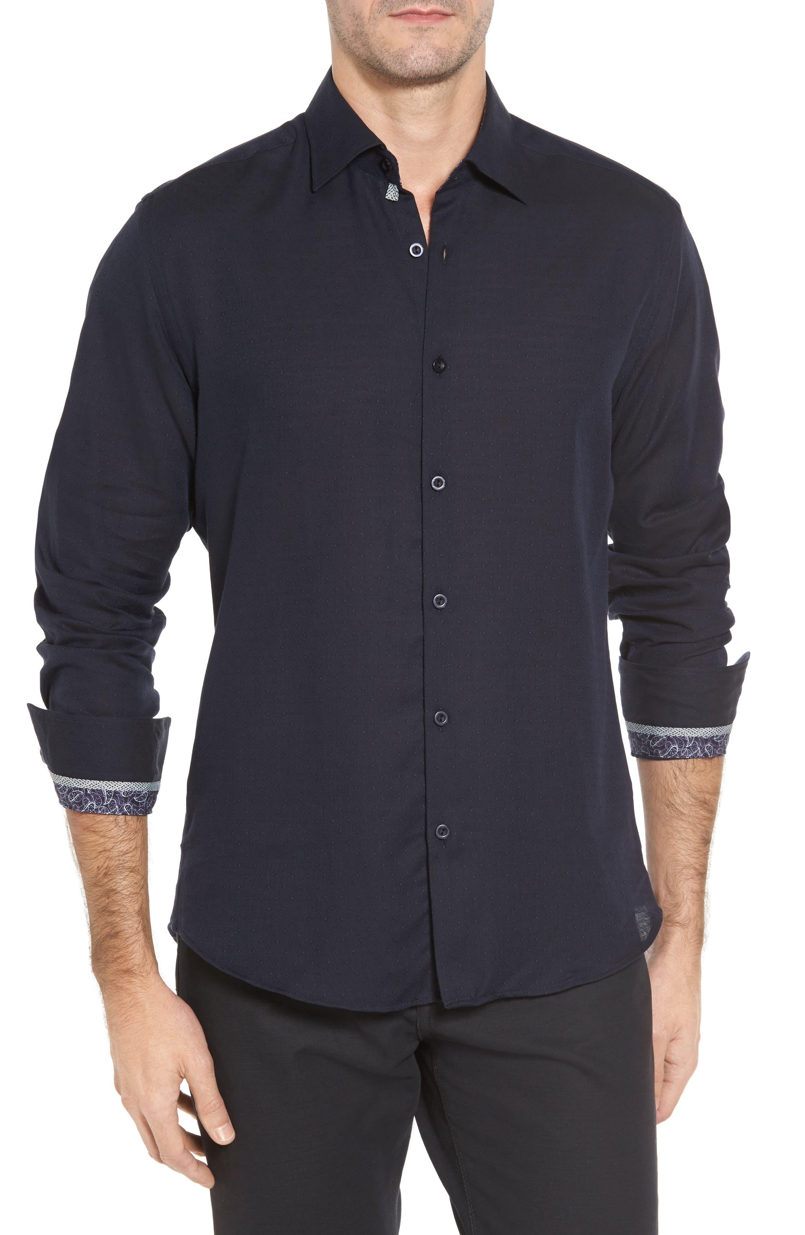 Slim Fit Diamond Twill Sport Shirt,                             Main thumbnail 1, color,                             NAVY