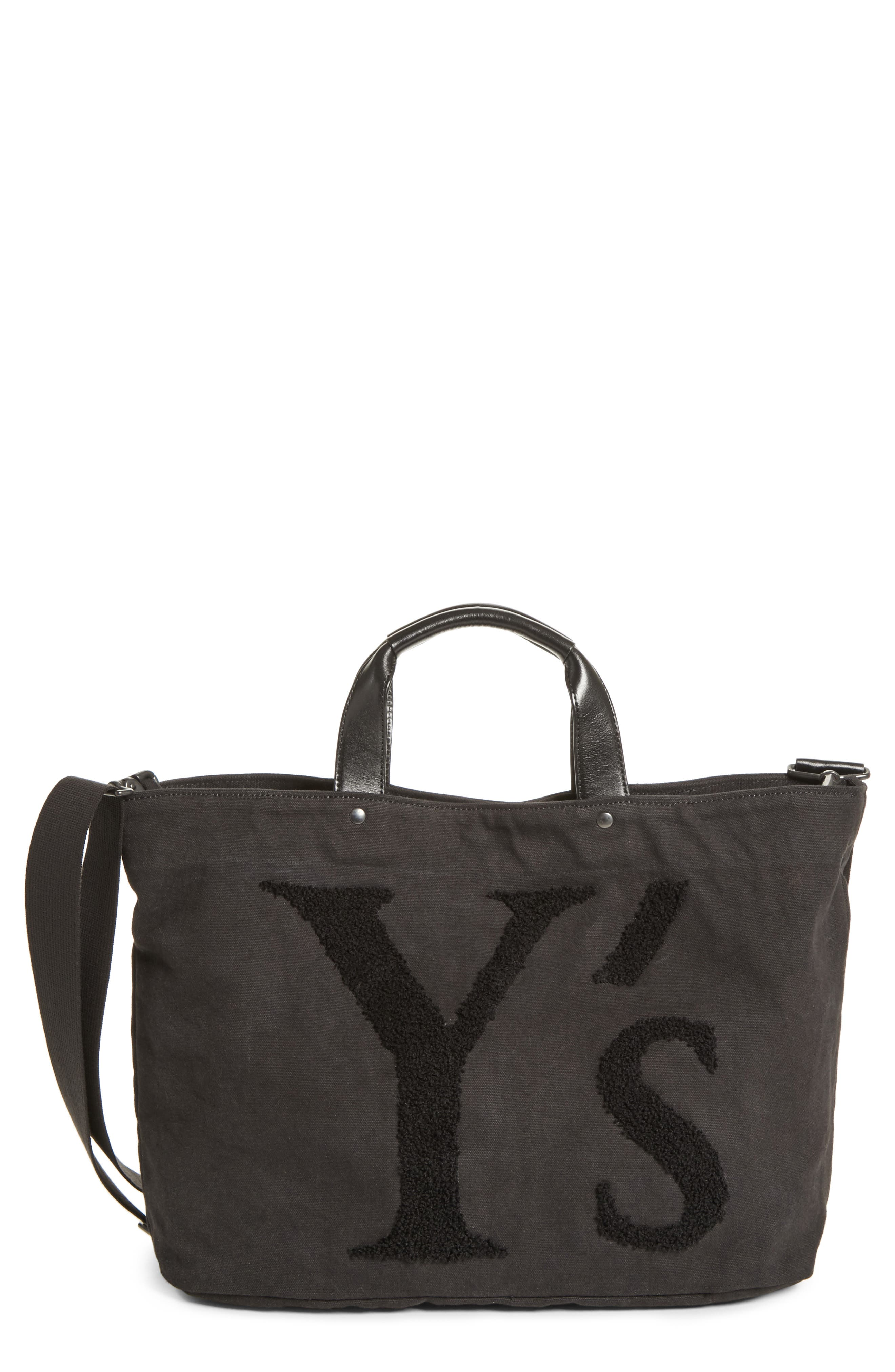 Ys by Yohji Yamamoto Embroidered Canvas Tote Bag, Main, color, 001