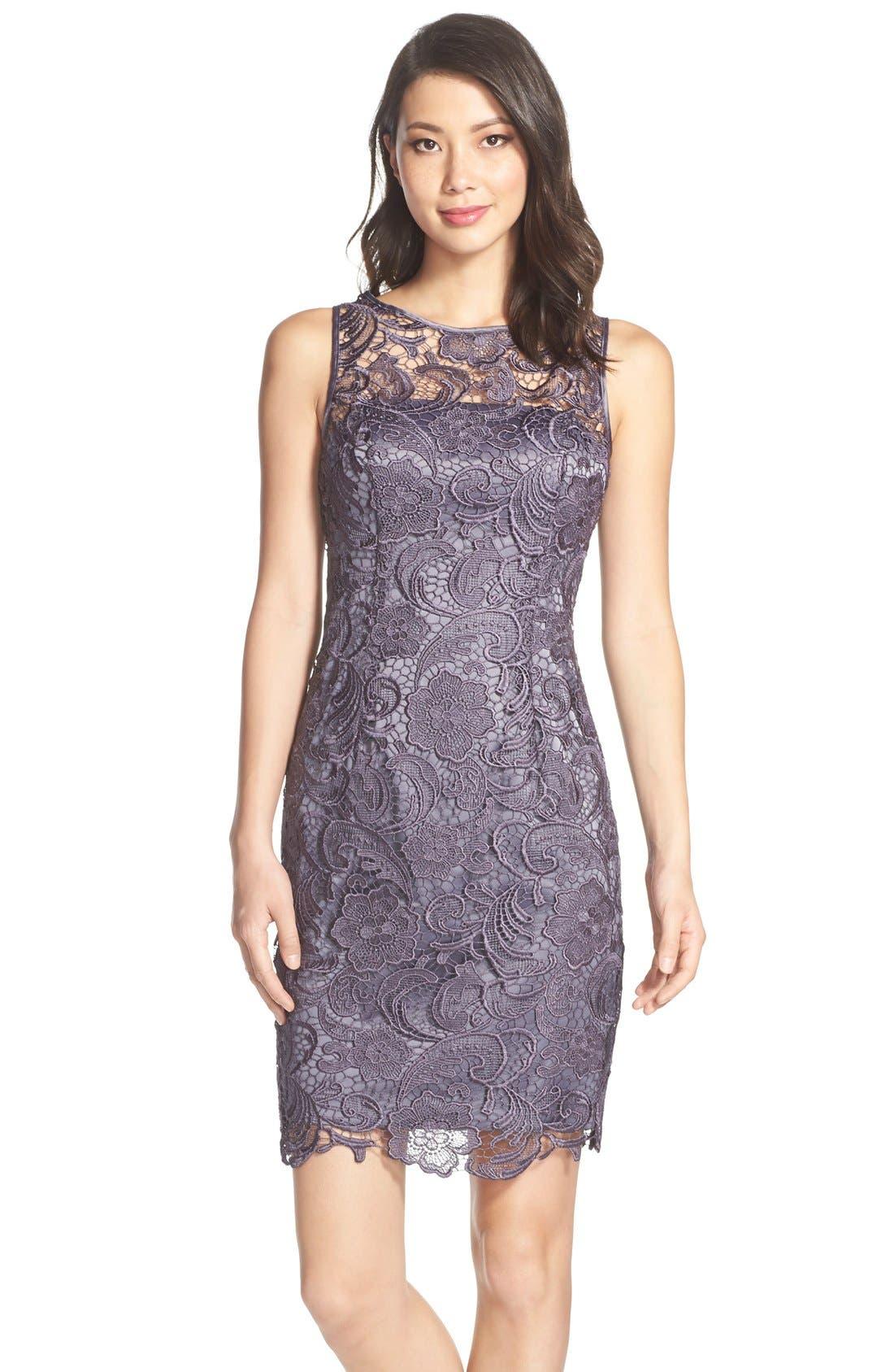 Illusion Bodice Lace Sheath Dress,                             Main thumbnail 4, color,