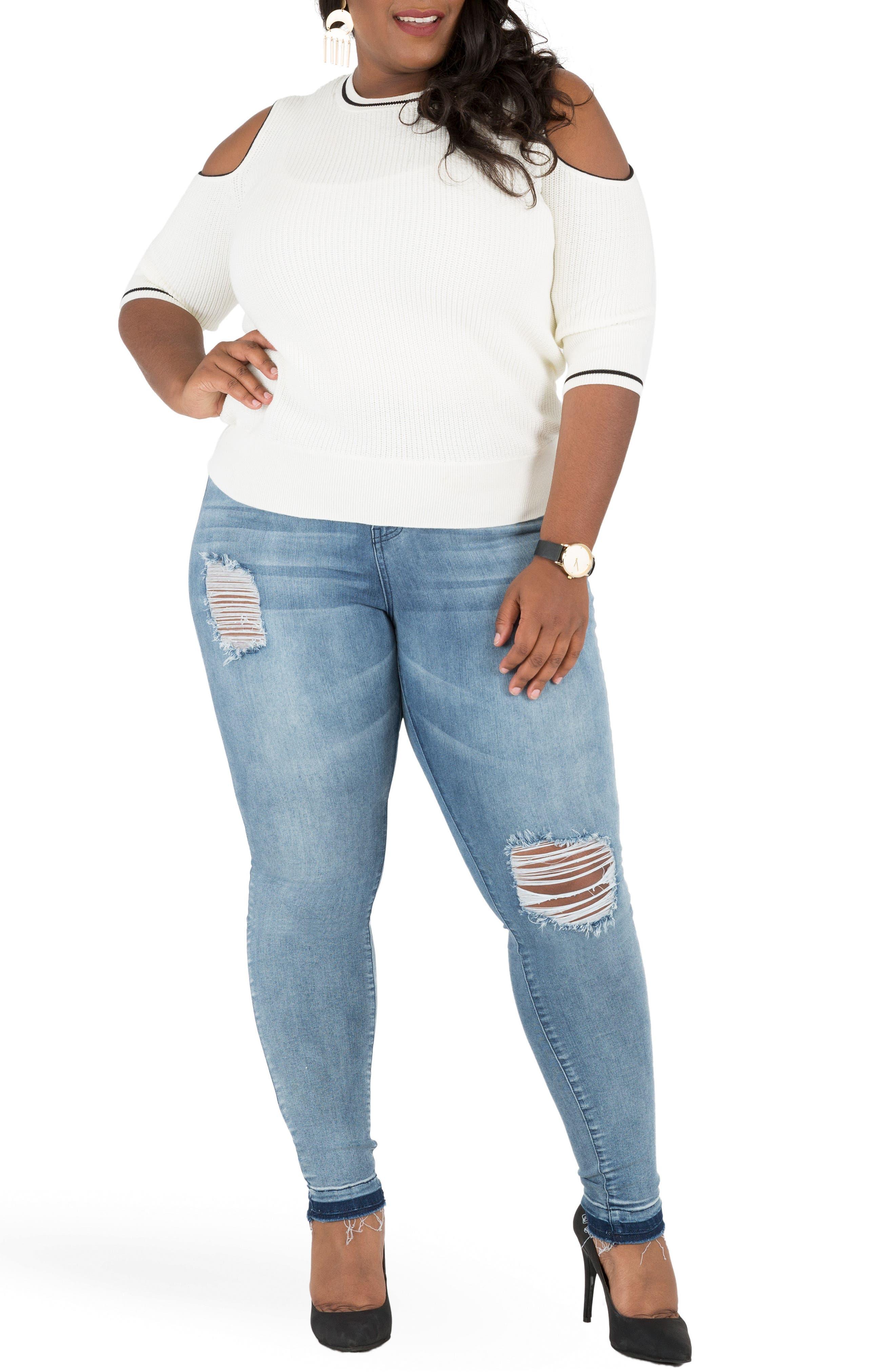 Corrine Release Hem Skinny Crop Jeans,                             Alternate thumbnail 4, color,                             LIGHT BLUE