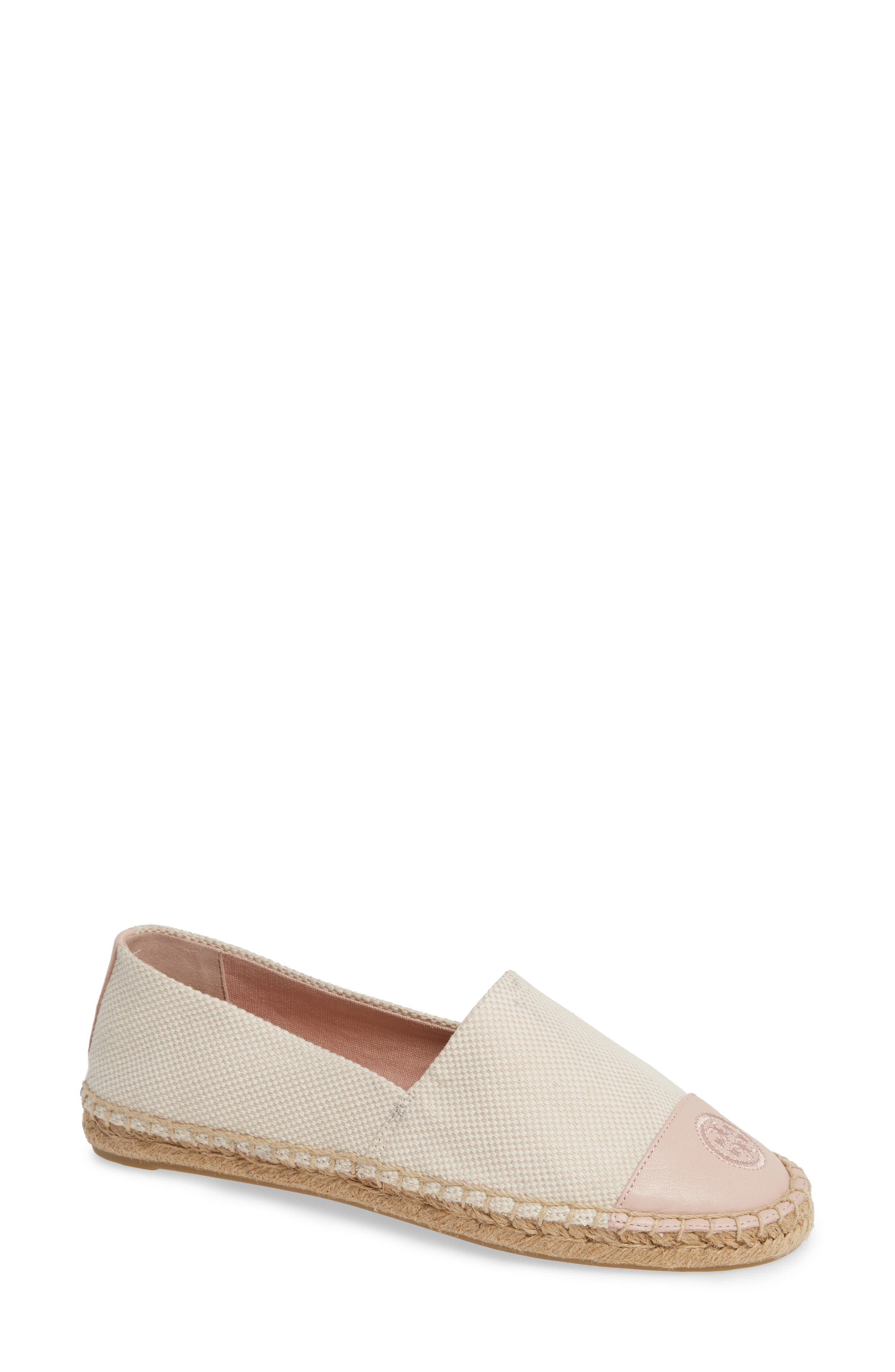 Women'S Color Block Leather & Canvas Espadrille Flats in Sea Shell Pink