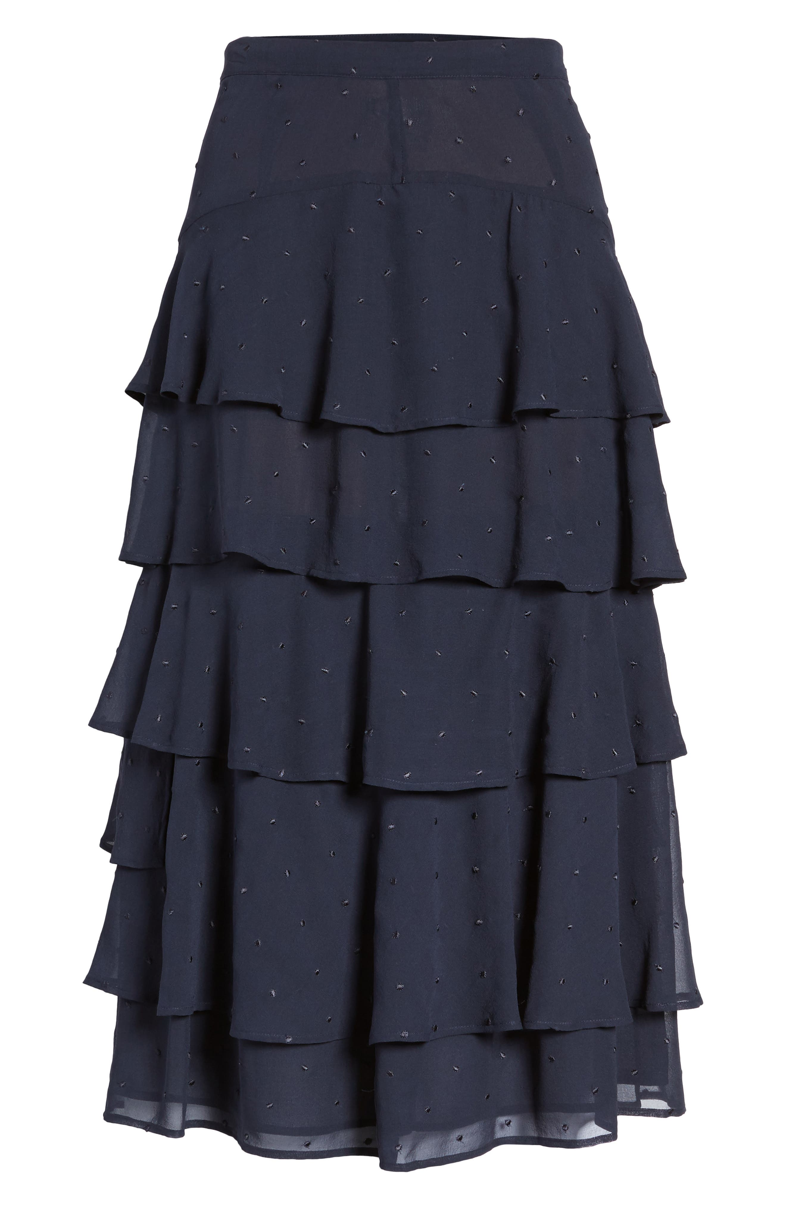 Tiered Silk Chiffon Skirt,                             Alternate thumbnail 6, color,                             410