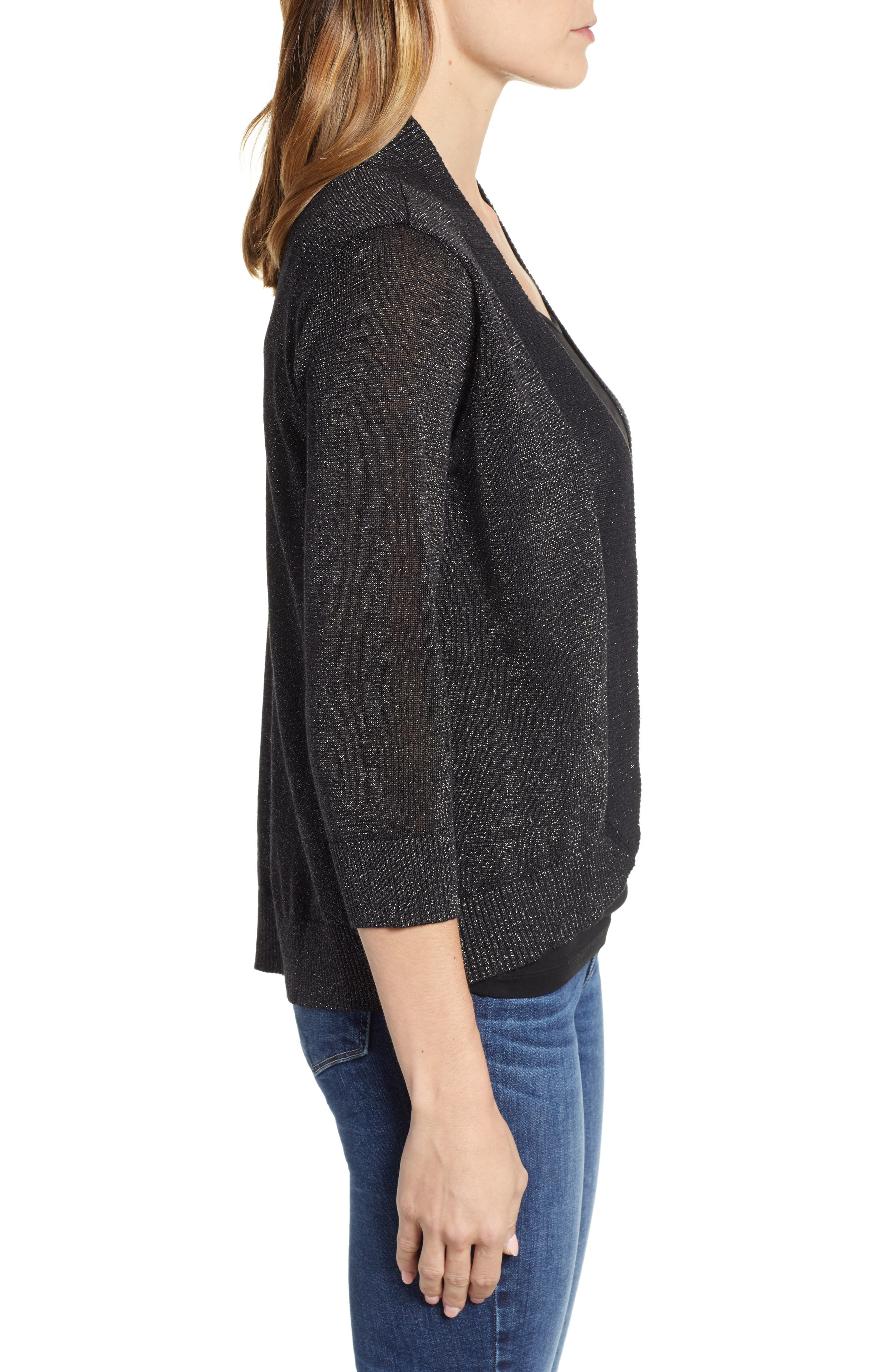 Lea Shimmer Open Front Cardigan,                             Alternate thumbnail 3, color,                             PEWTER
